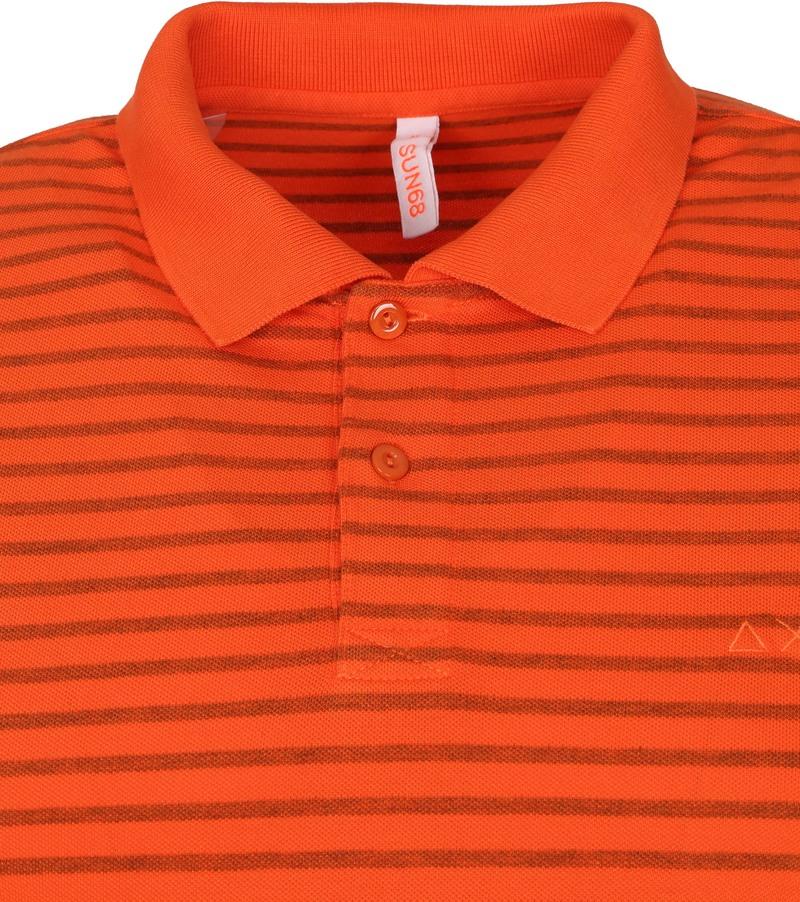 Sun68 Polo Cold Dye Stripes Oranje