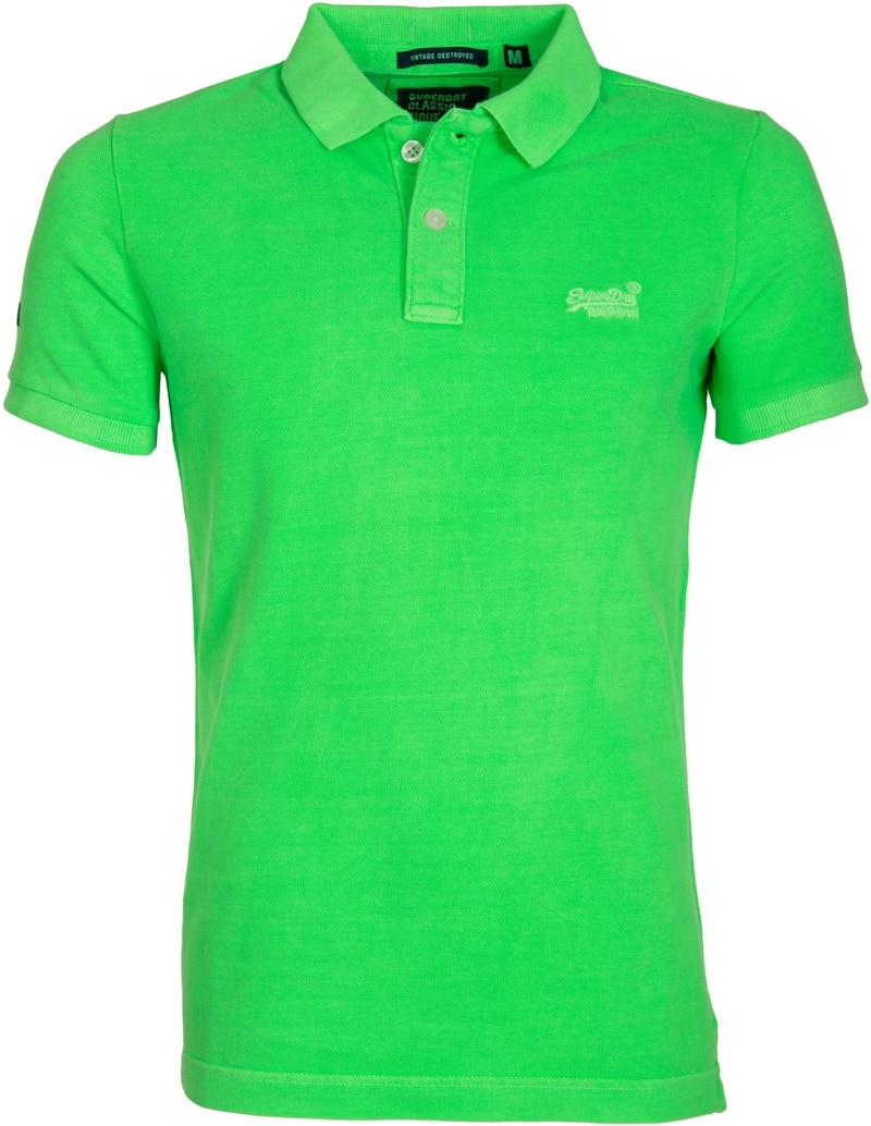 Superdry Vintage Destroyed Polo Neon Groen foto 0