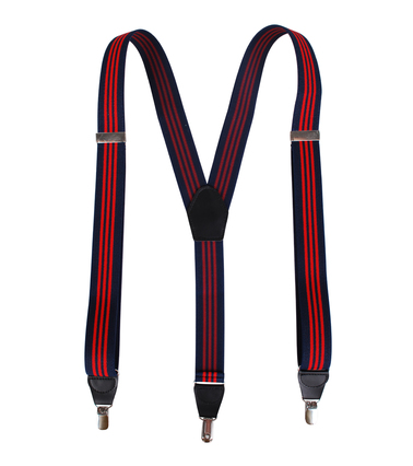 Suspenders Navy Red Striped photo 1