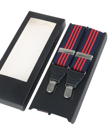 Suspenders Navy Red Striped photo 2