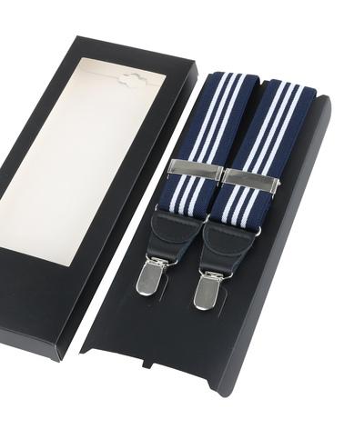 Suspenders Navy White Striped photo 2