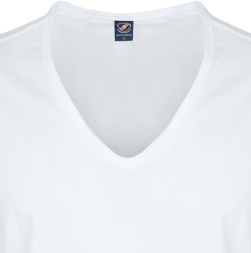 T-Shirt Tiefer V-Ausschnitt 4er Pack Stretch Weiß Foto 2