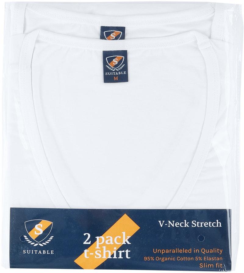 T-Shirt Tiefer V-Ausschnitt 4er Pack Stretch Weiß Foto 4