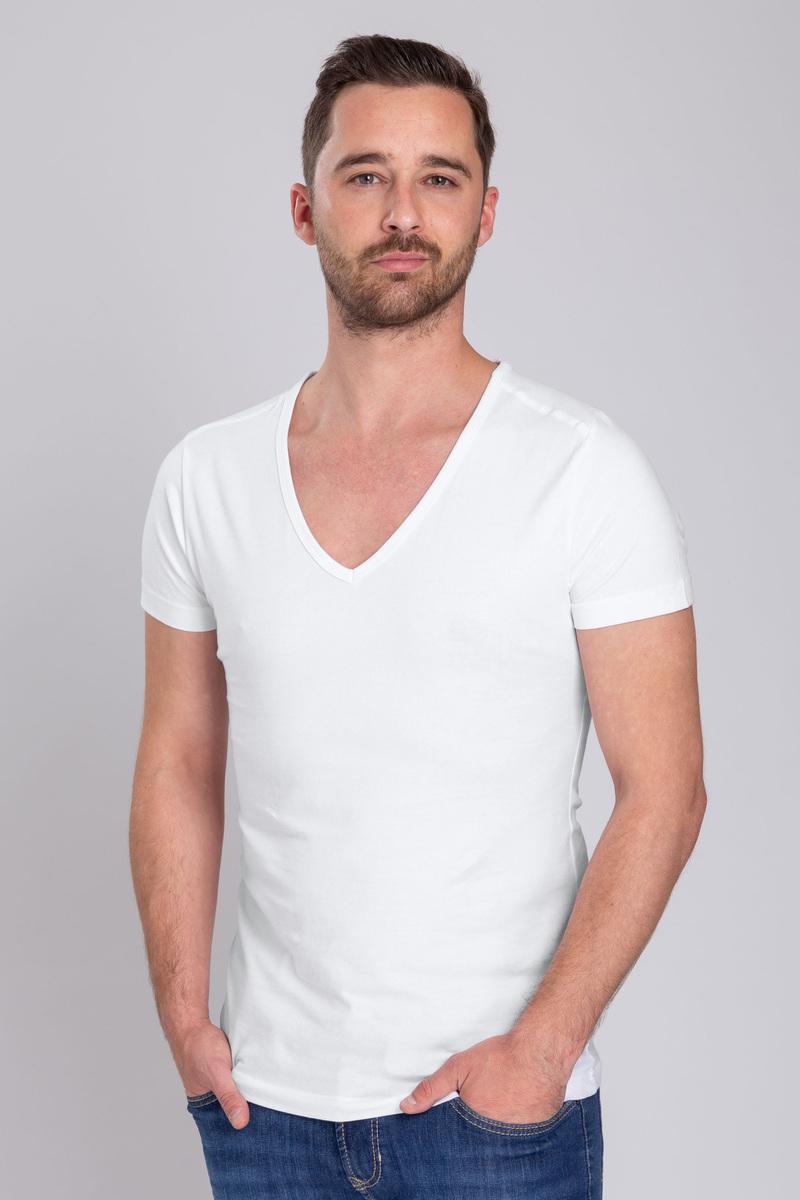 T-Shirt Tiefer V-Ausschnitt 4er Pack Stretch Weiß Foto 5
