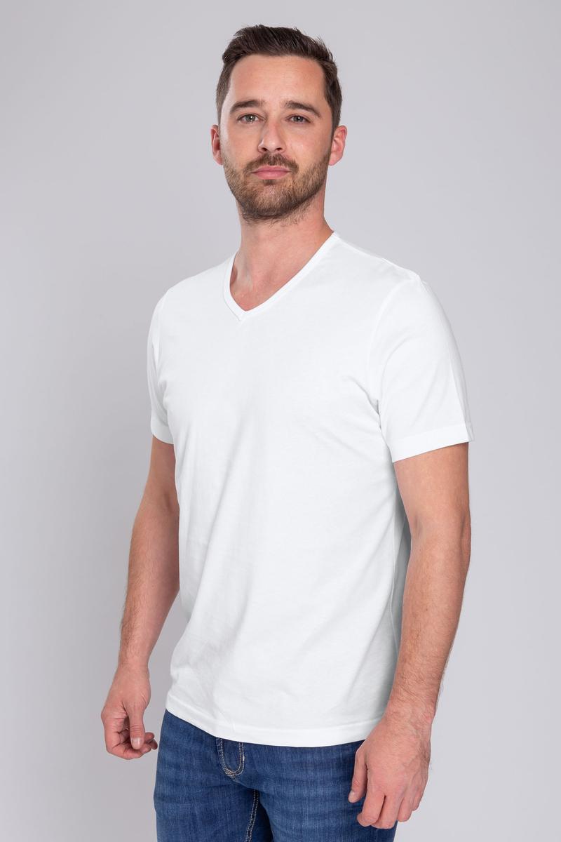 T-Shirt V-Ausschnitt 6er Pack Weiß Foto 5