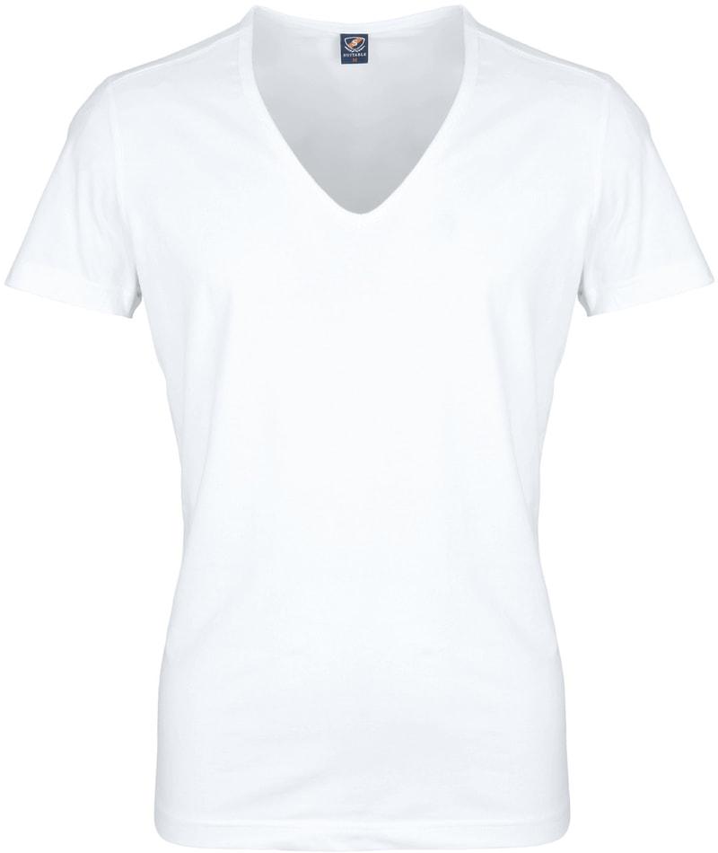 Tiefer V-Ausschnitt 2er Pack Stretch T-Shirt Weiß Foto 1