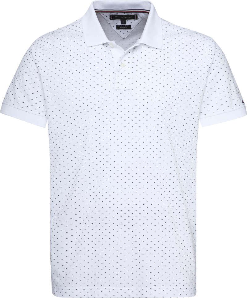 Tommy Hilfiger Regular Fit Poloshirt mit Allover Muster Weiß