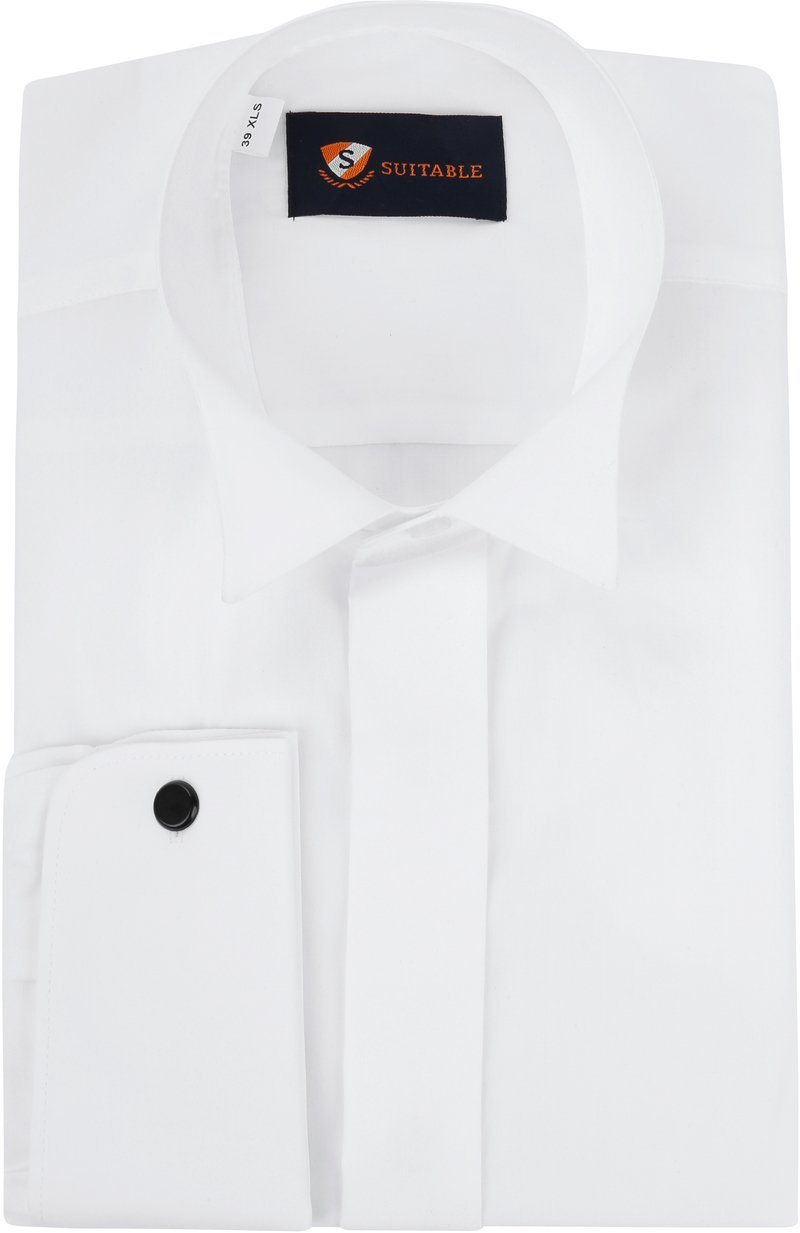 Tuxedo Shirt High Collar White