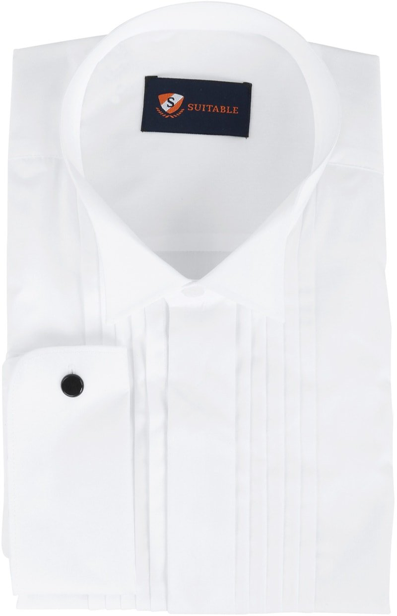 Tuxedo Shirt Pleated White