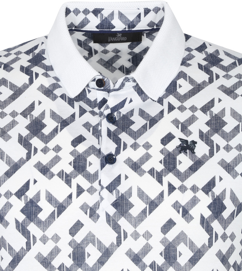 Vanguard Poloshirt Grafisch Wit - Wit maat XL