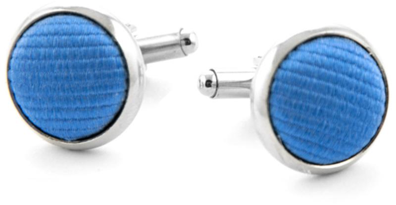 Zijde Manchetknoop Midden Blauw F05 foto 0