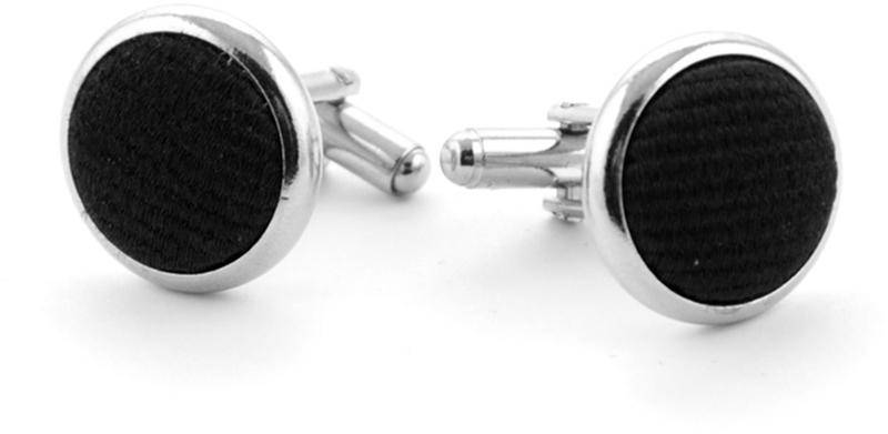 Zijde Manchetknoop Zwart F08 foto 0