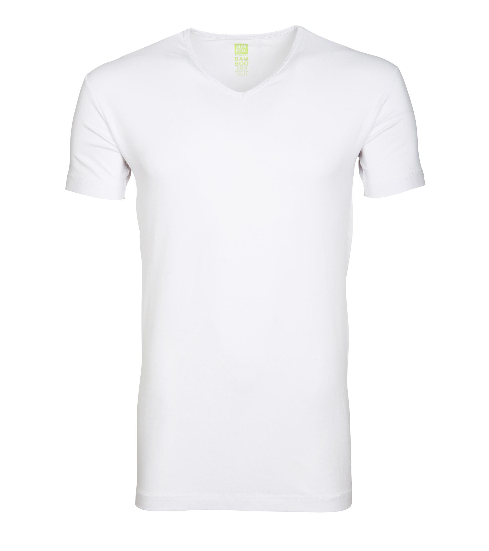 Alan Red Bamboo T-shirt V-Ausschnitt Weiß foto 0