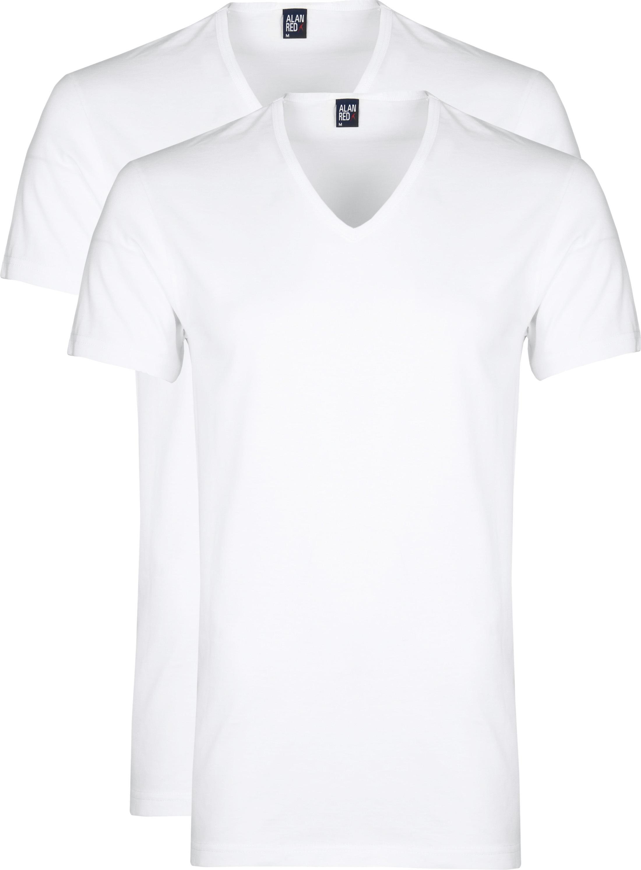 Alan Red Dean V-Hals T-Shirt Wit (2Pack) foto 0