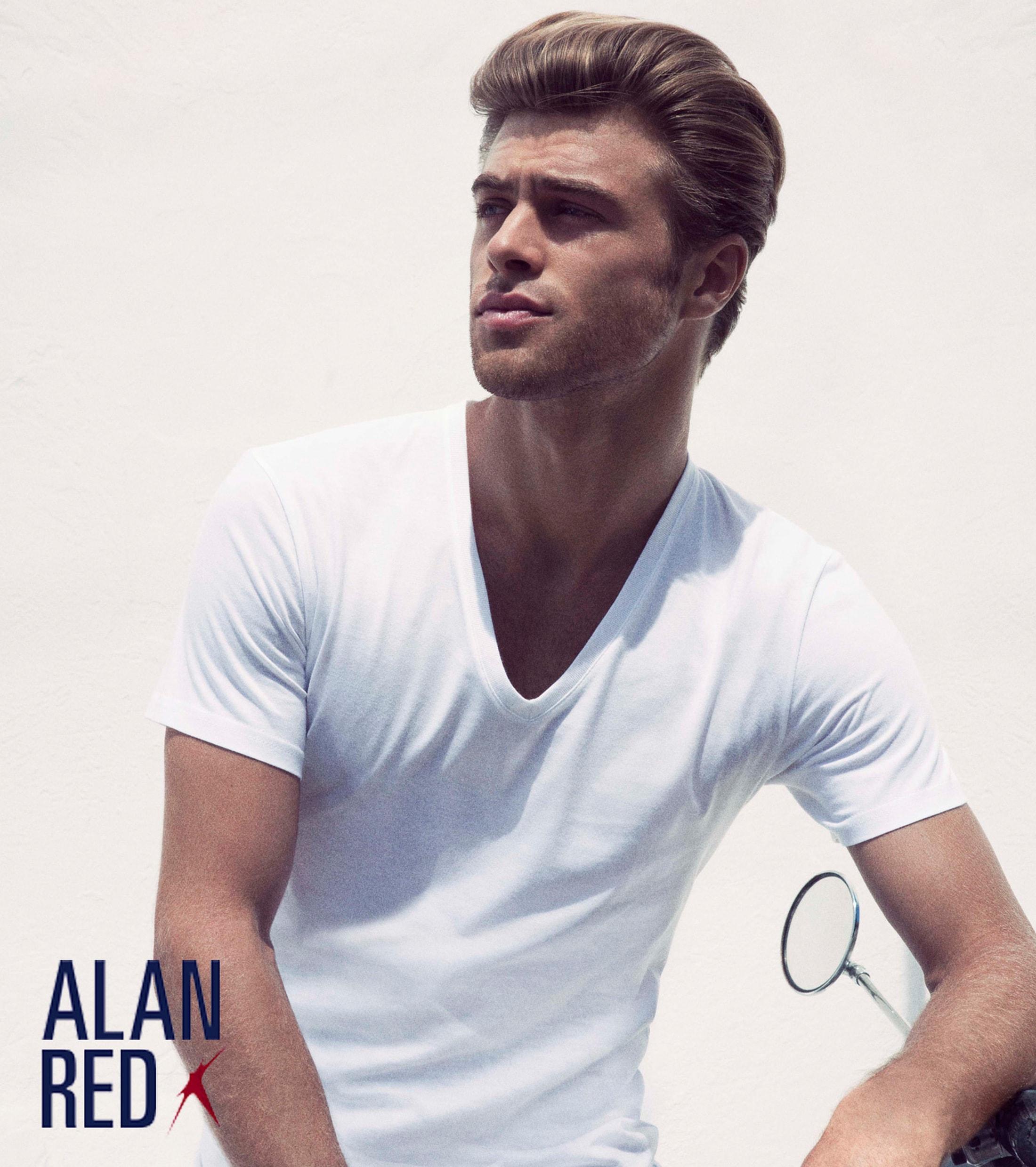Alan Red Dean V-Hals T-Shirt Wit (2Pack) foto 2