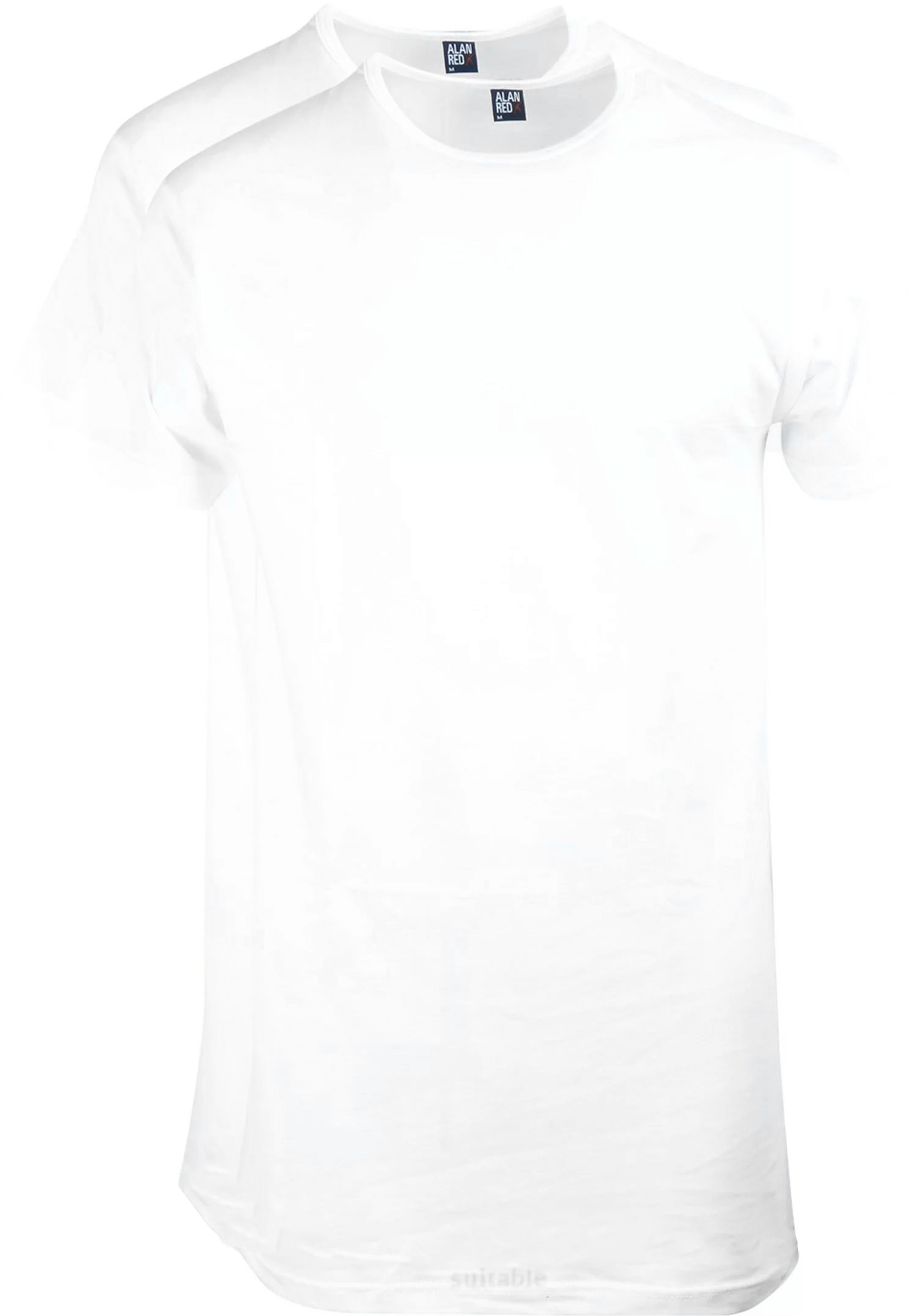 Alan Red Derby Extra Long T-shirt White 2-Pack foto 0
