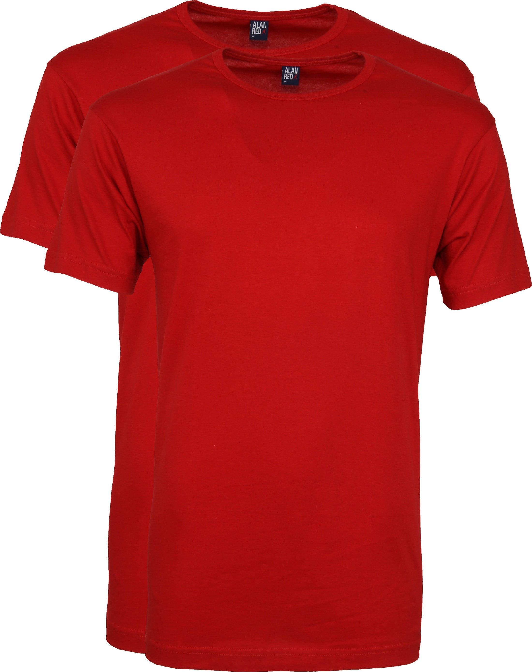 Alan Red Derby O-Hals T-Shirt Stone Red (2Pack) foto 0