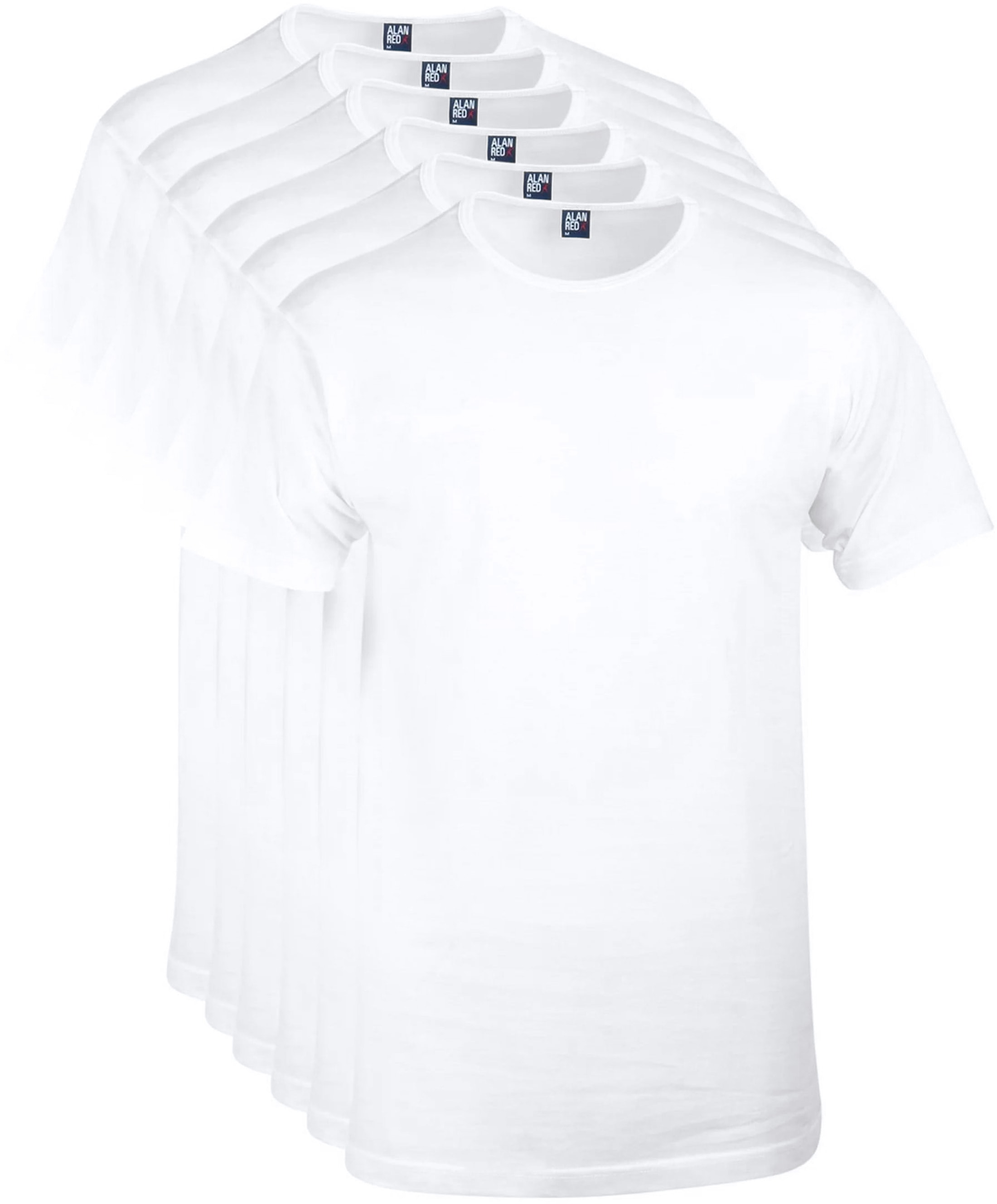 Alan Red Derby O-Hals T-Shirt Wit (6Pack) foto 0