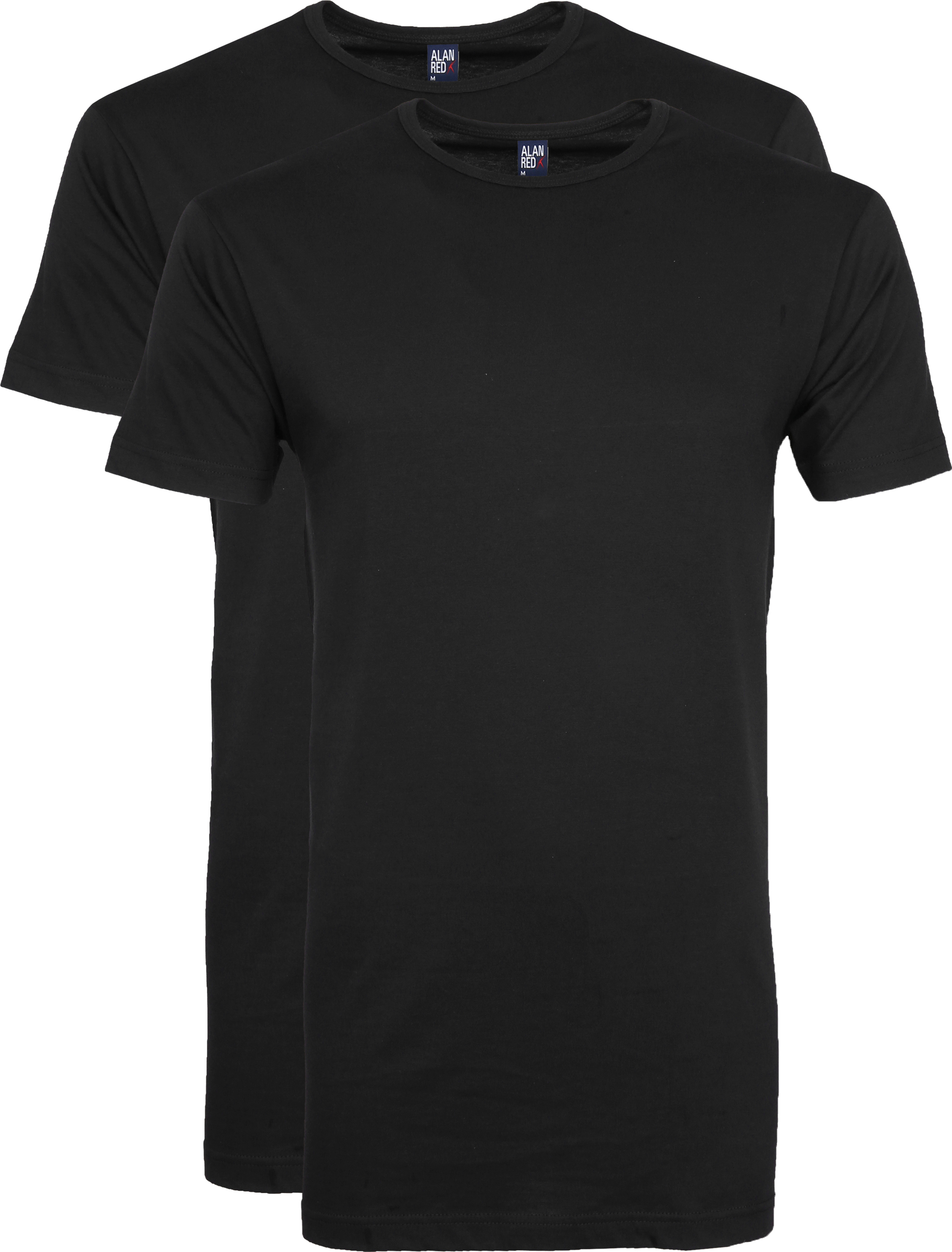 Alan Red Extra Long T Shirts Derby Black (2 Pack) Alan Red