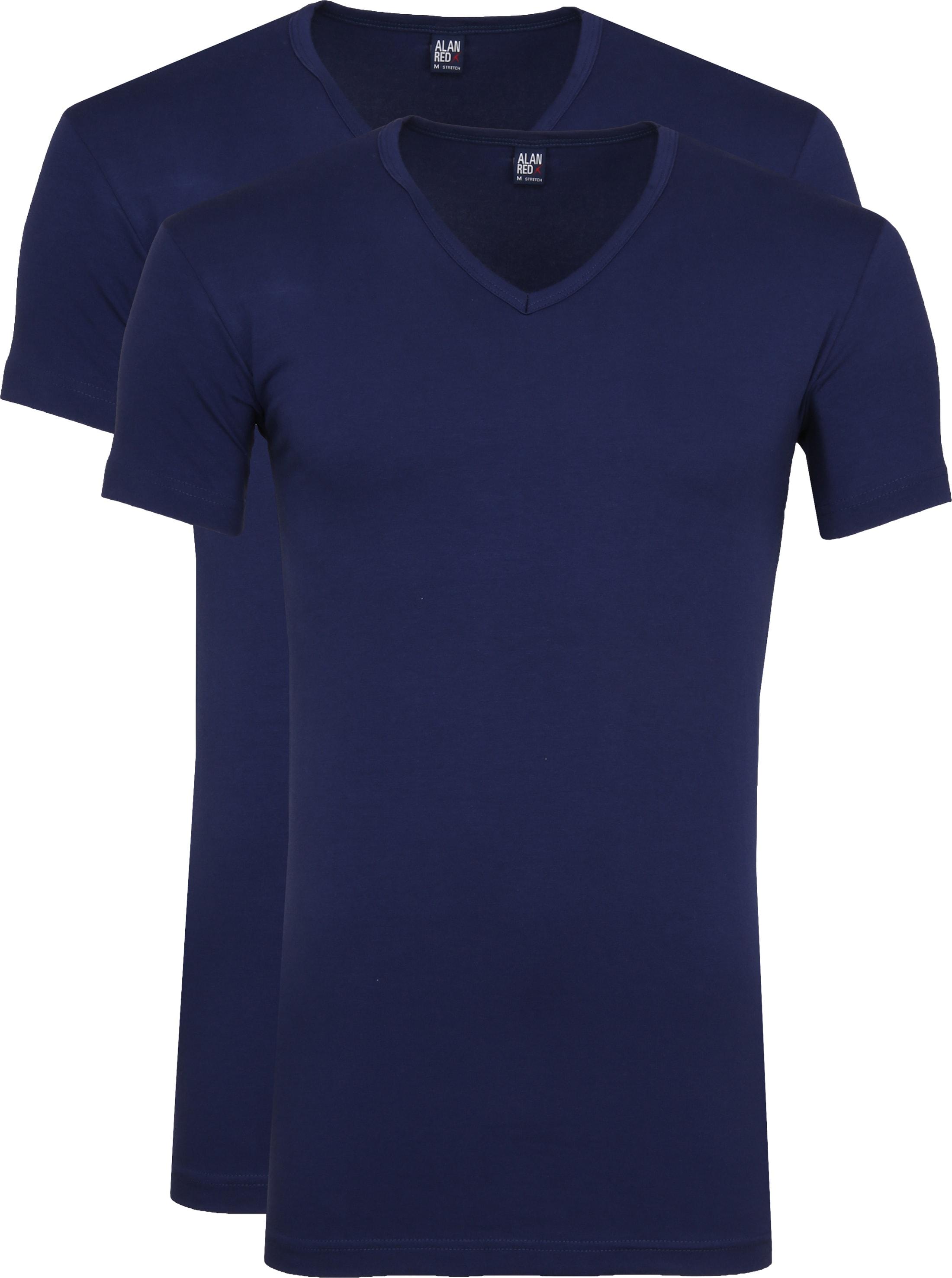 Alan Red Oklahoma V-Hals T-Shirt Blauw Stretch (2Pack) foto 0