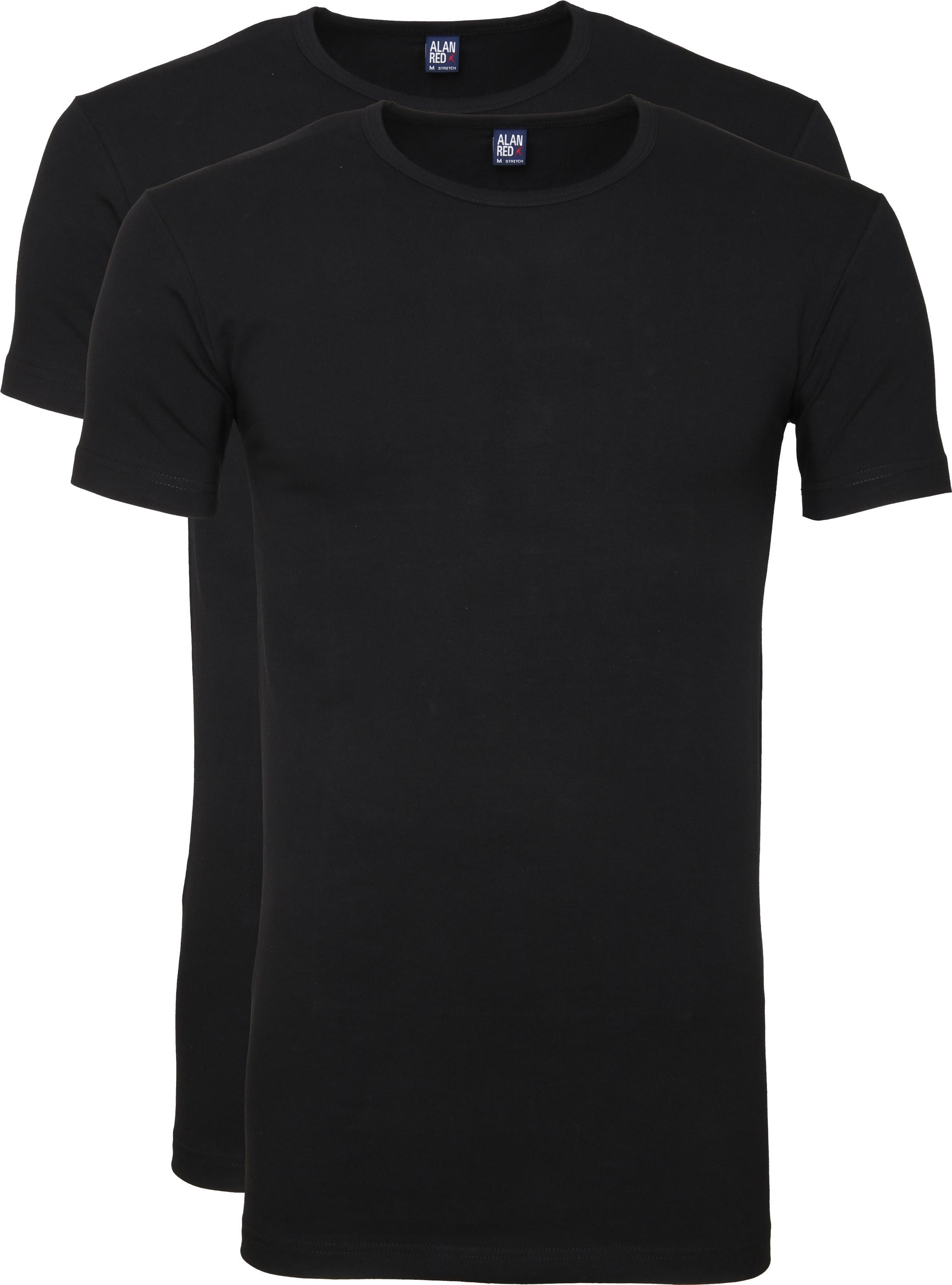 Alan Red Ottawa T-shirt Stretch Zwart (2Pack)
