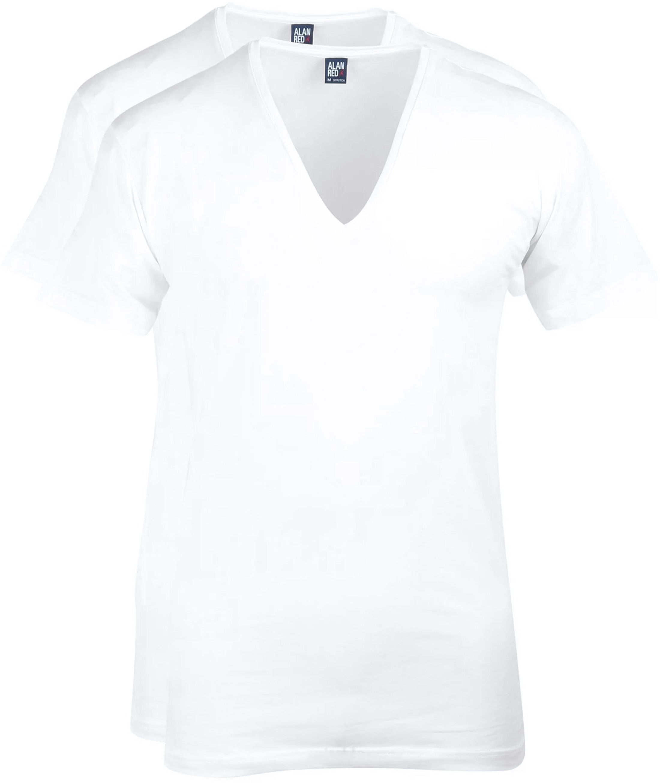 Alan Red T-shirt Deep V-Neck White 2-Pack foto 0