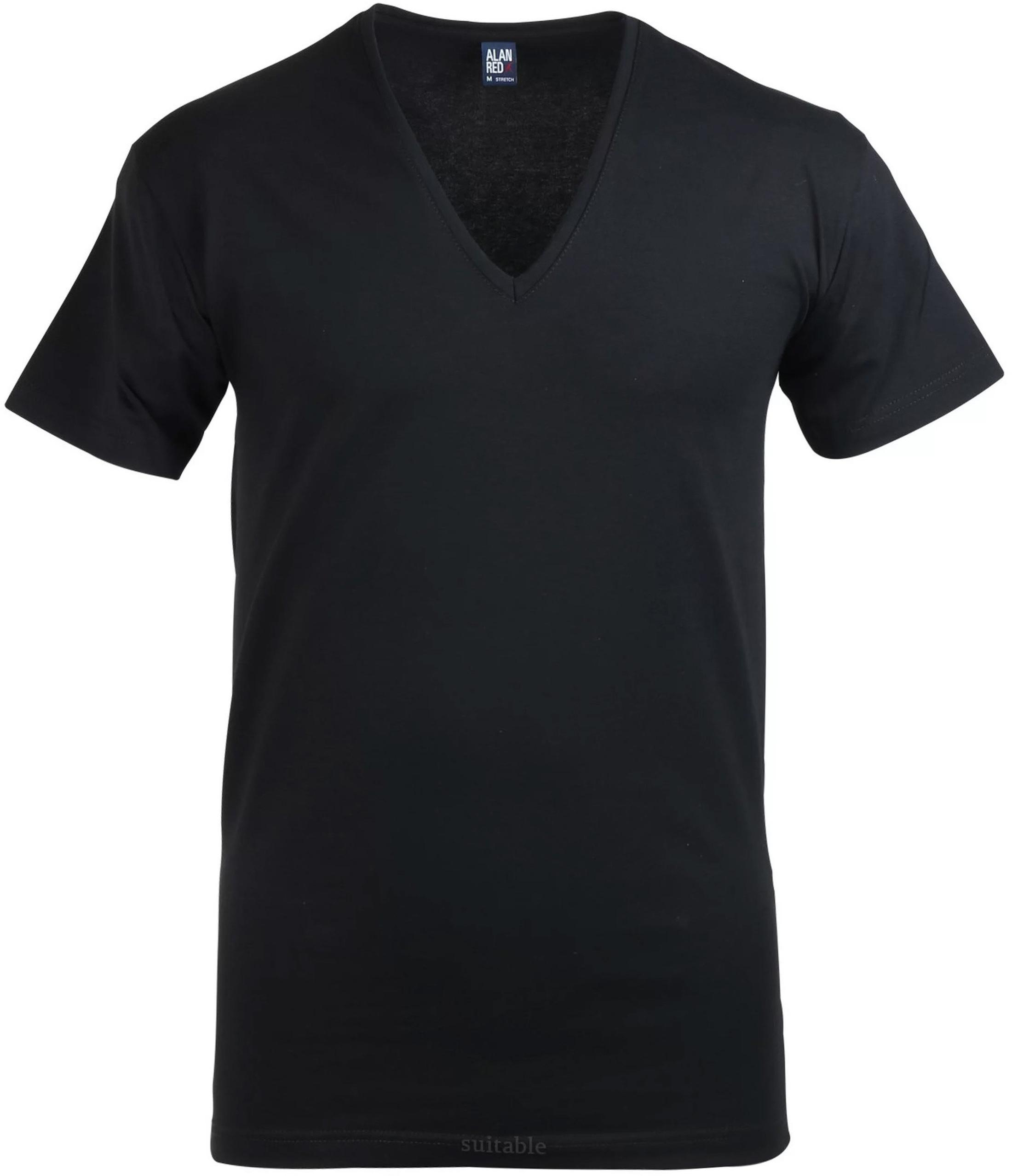 Alan Red T-Shirt Extra Diepe V-Hals Zwart foto 0