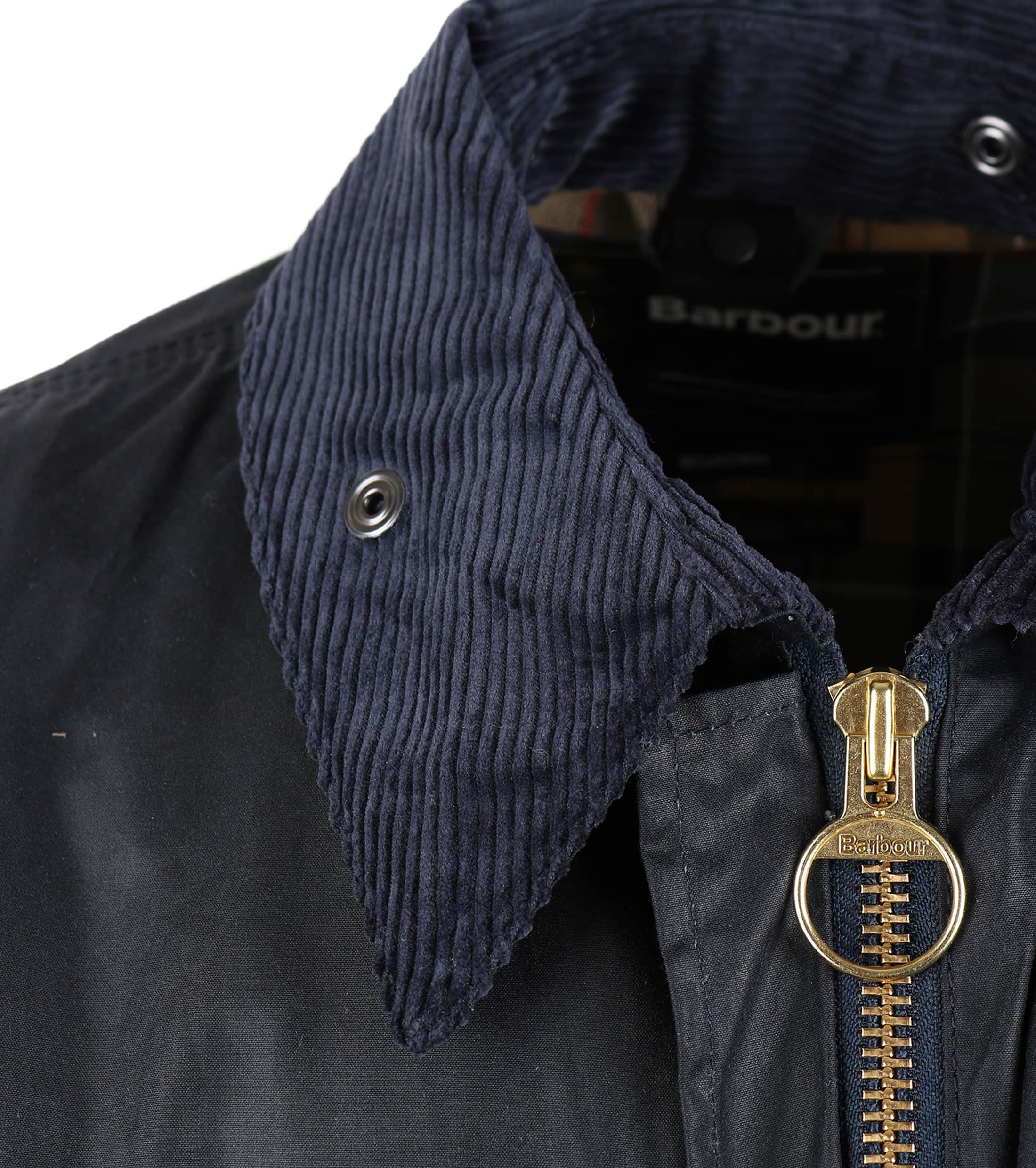 Barbour Border Wax Jas Blauw foto 3