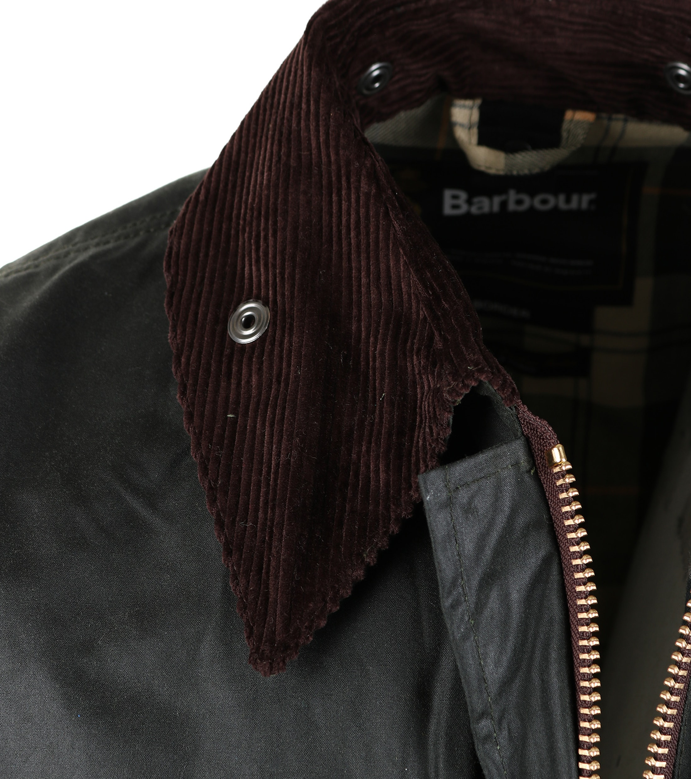 Barbour Border Wax Jas Groen foto 4