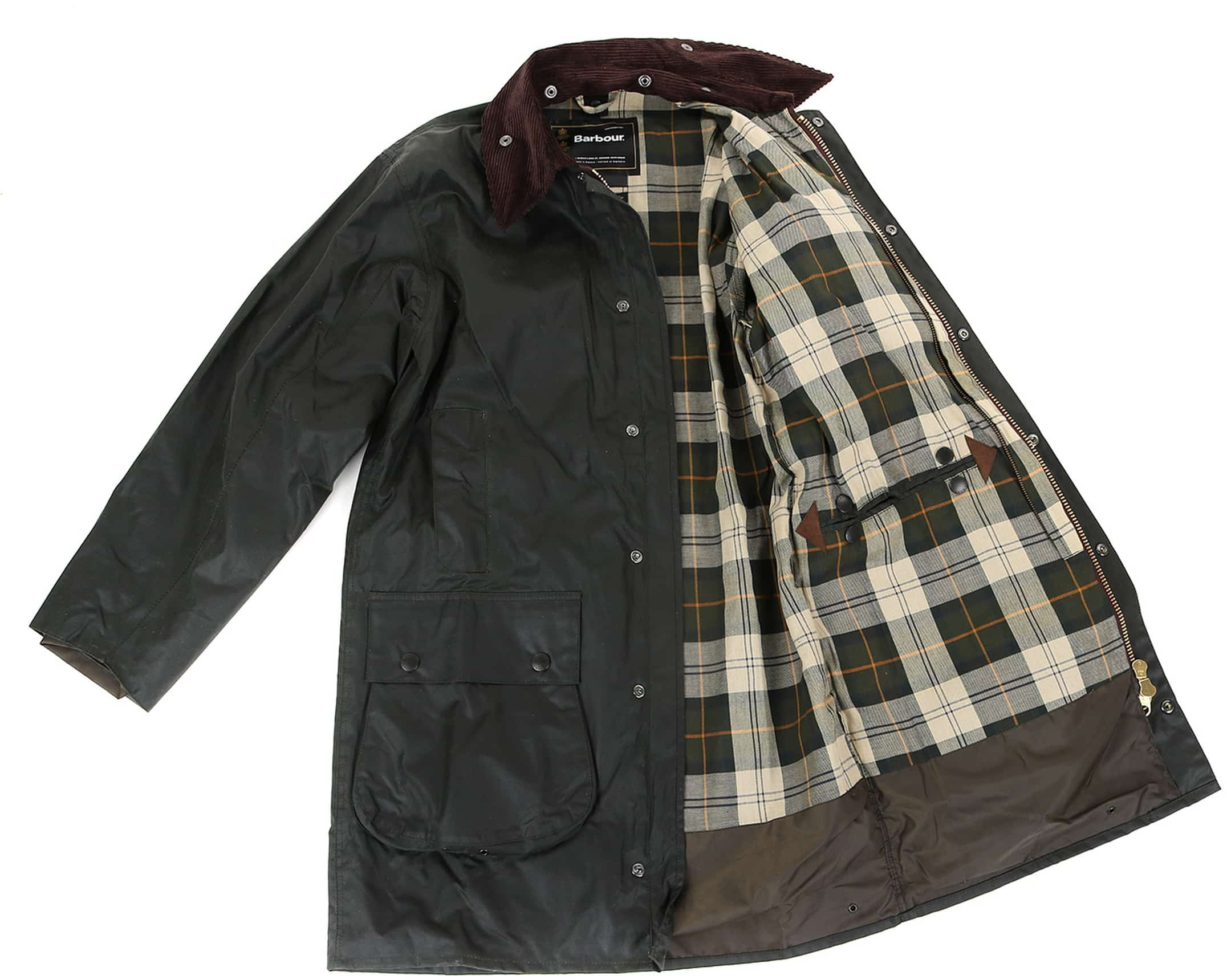 Barbour Border Wax Jas Groen foto 6