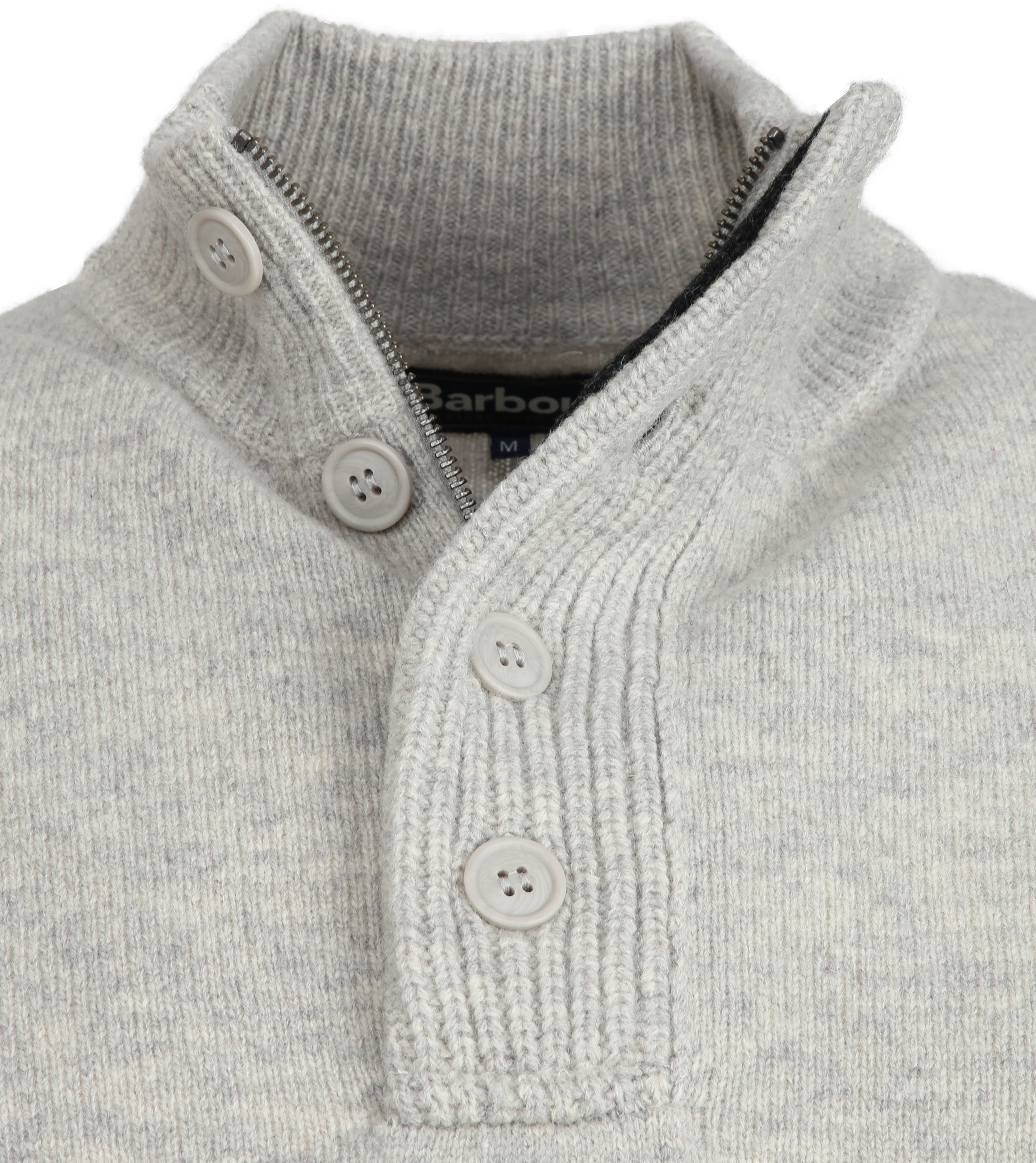 Barbour Sweater Wool Patch Grey foto 1