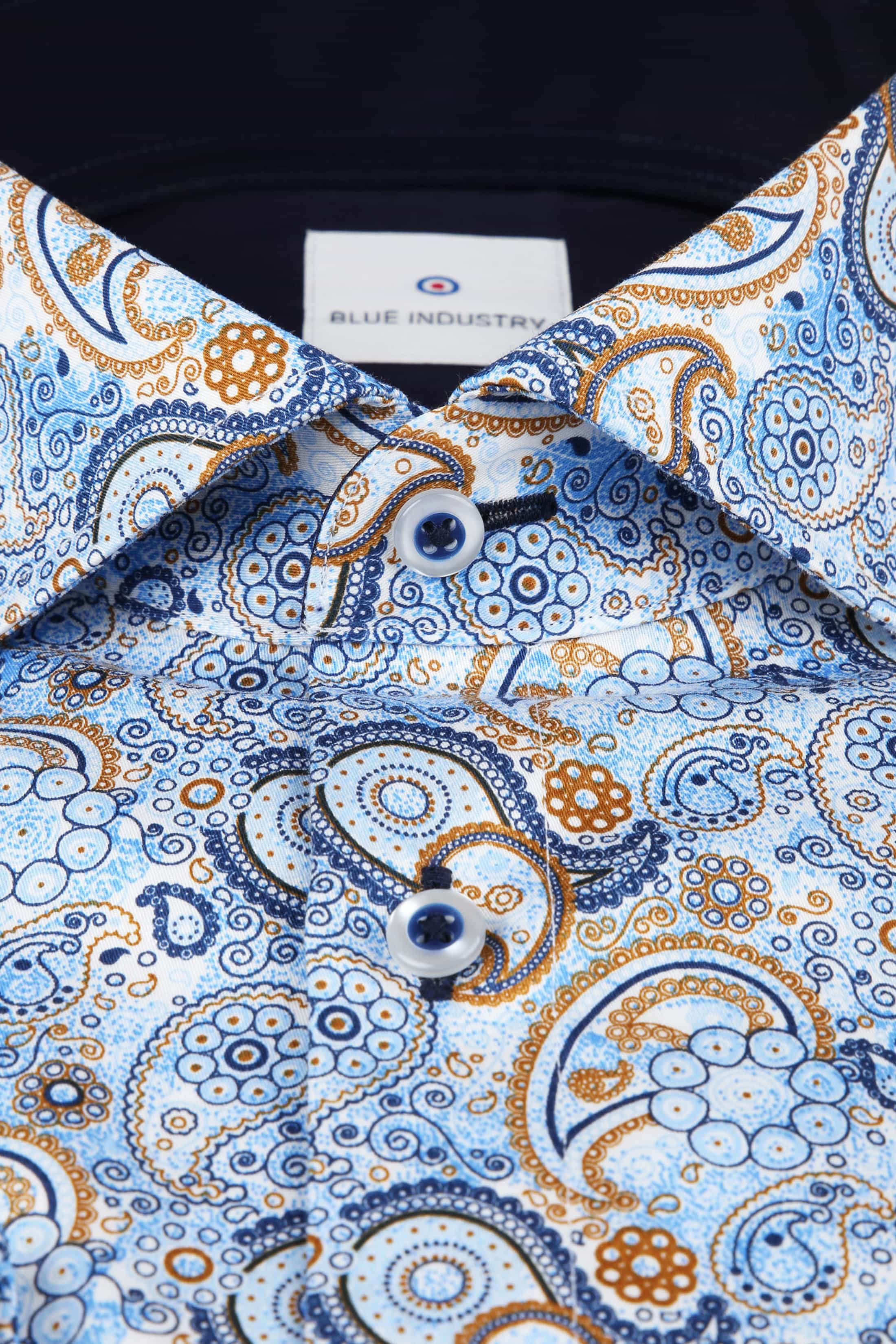 Blue Industry Overhemd Blauw Paisley foto 2