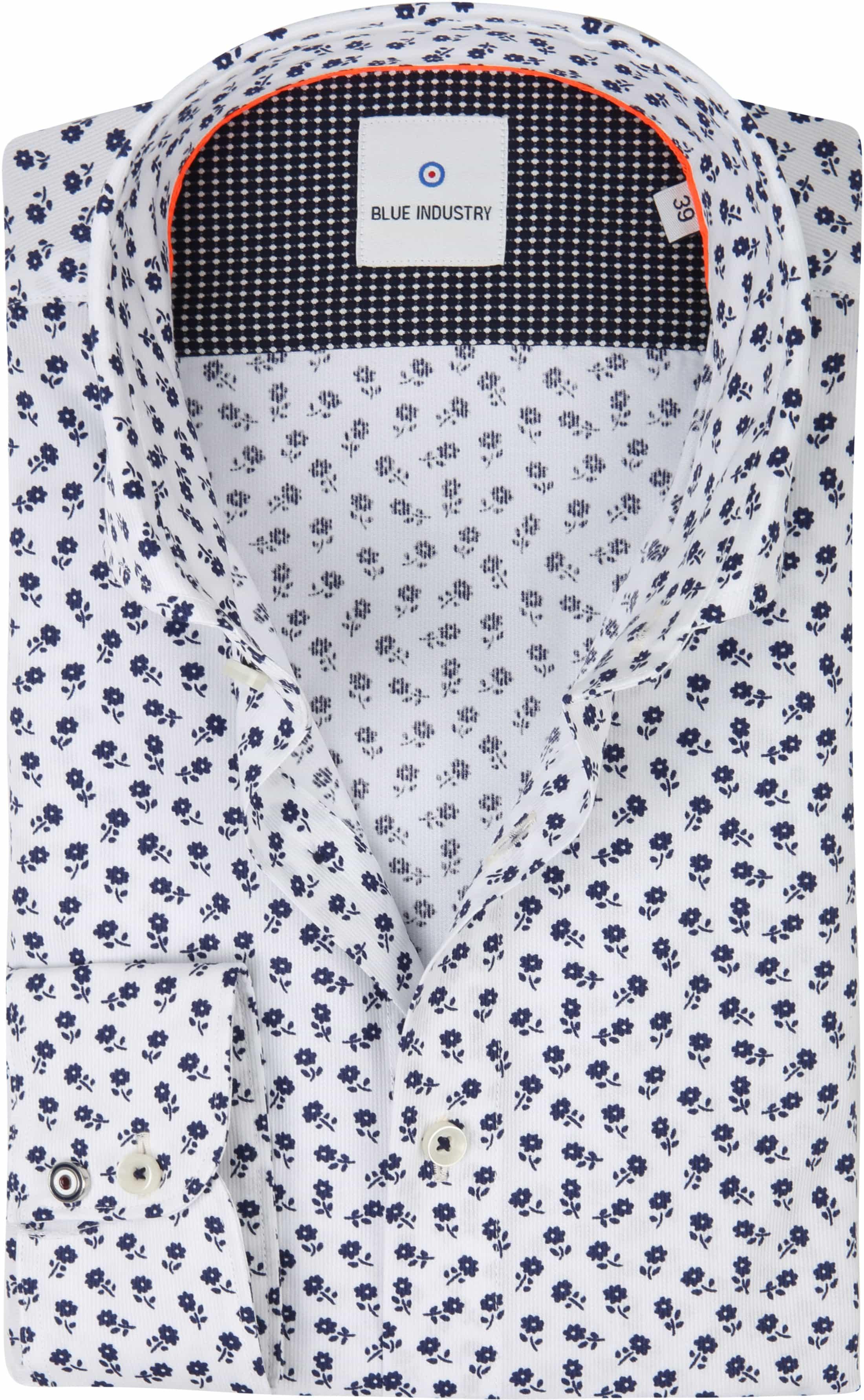Blue Industry Overhemd Bloemen Wit foto 0