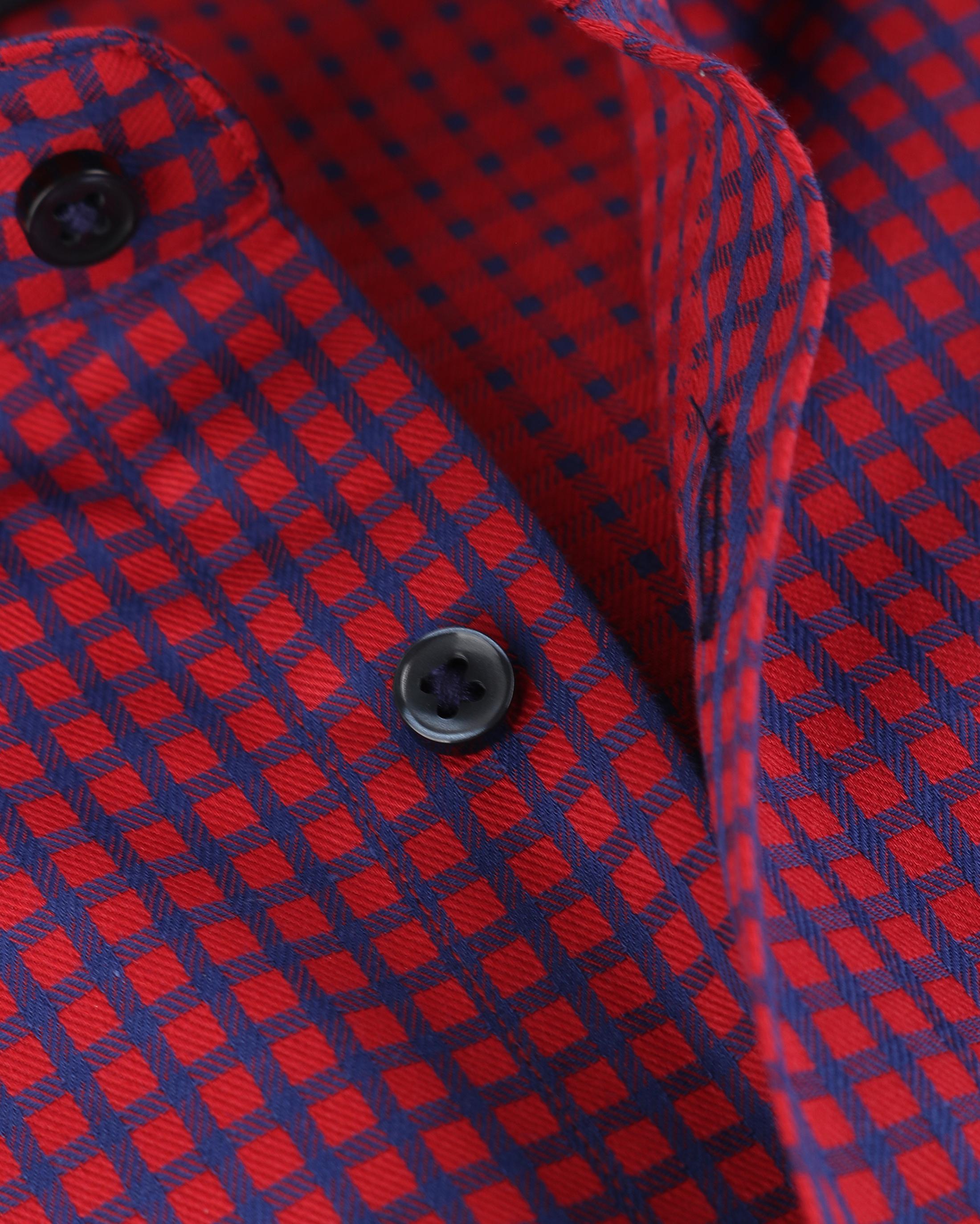 Blue Industry Overhemd Rood Blauw Ruit foto 3
