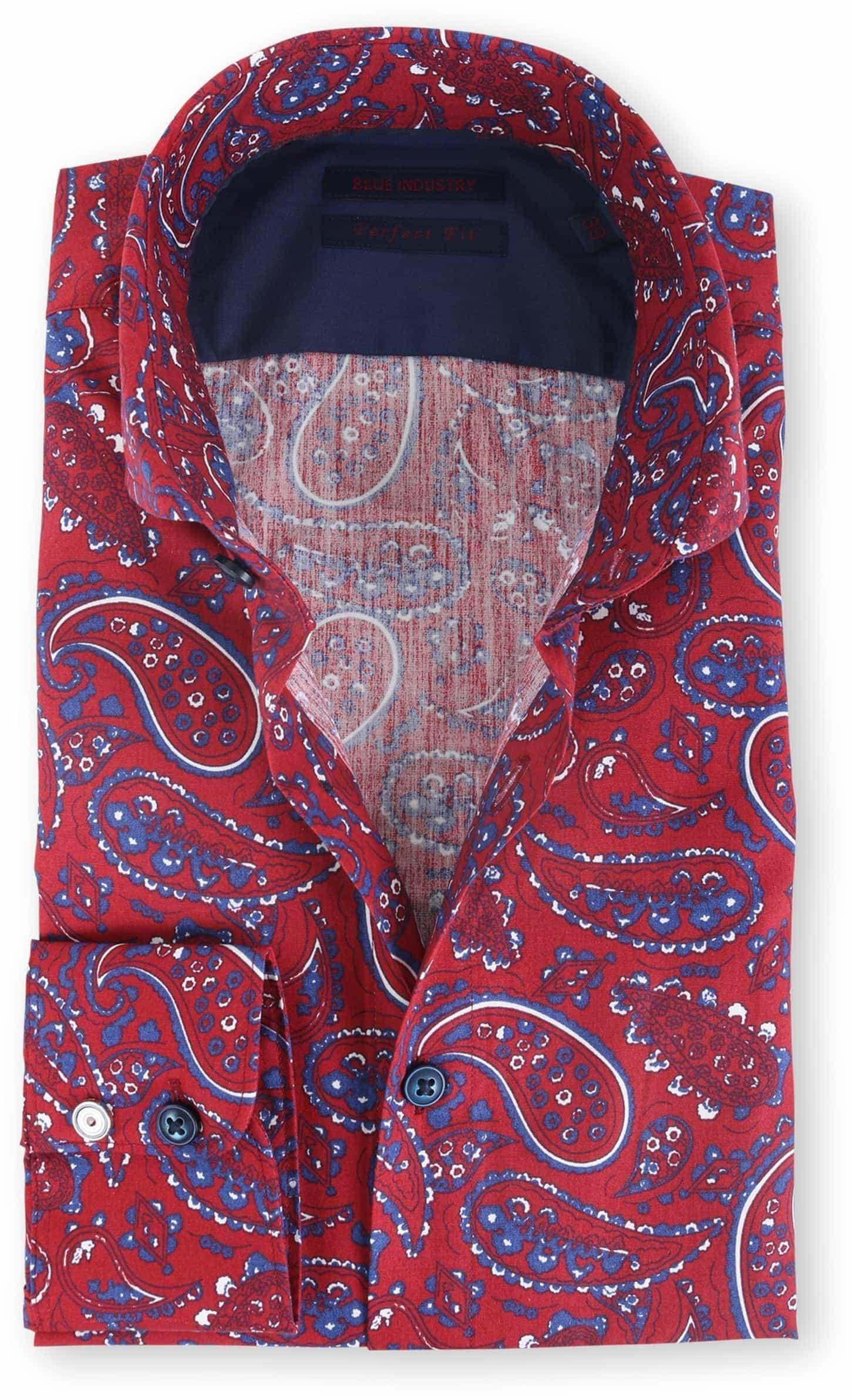 Blue Industry Shirt Bordeaux Paisley foto 0