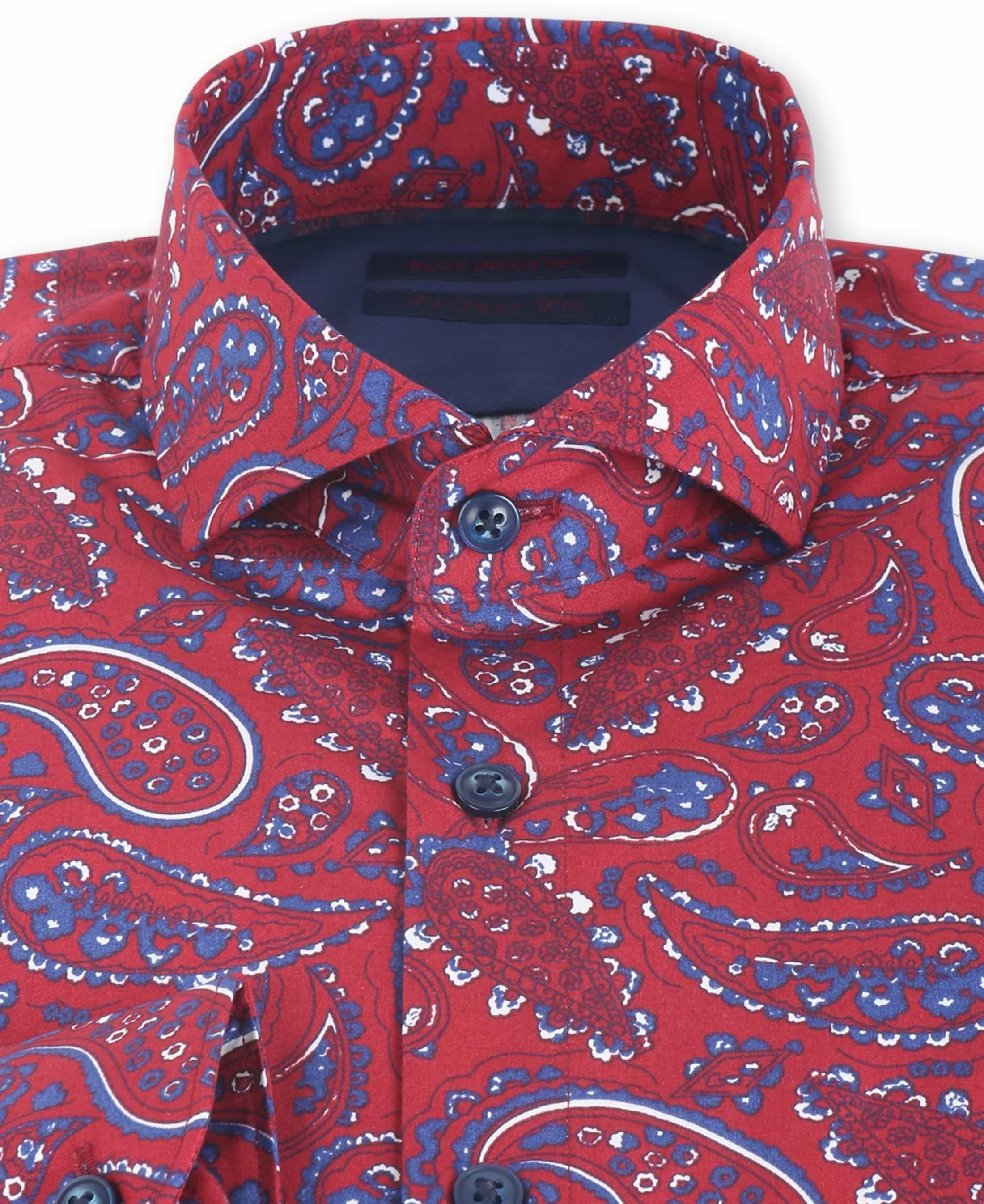 Blue Industry Shirt Bordeaux Paisley foto 1