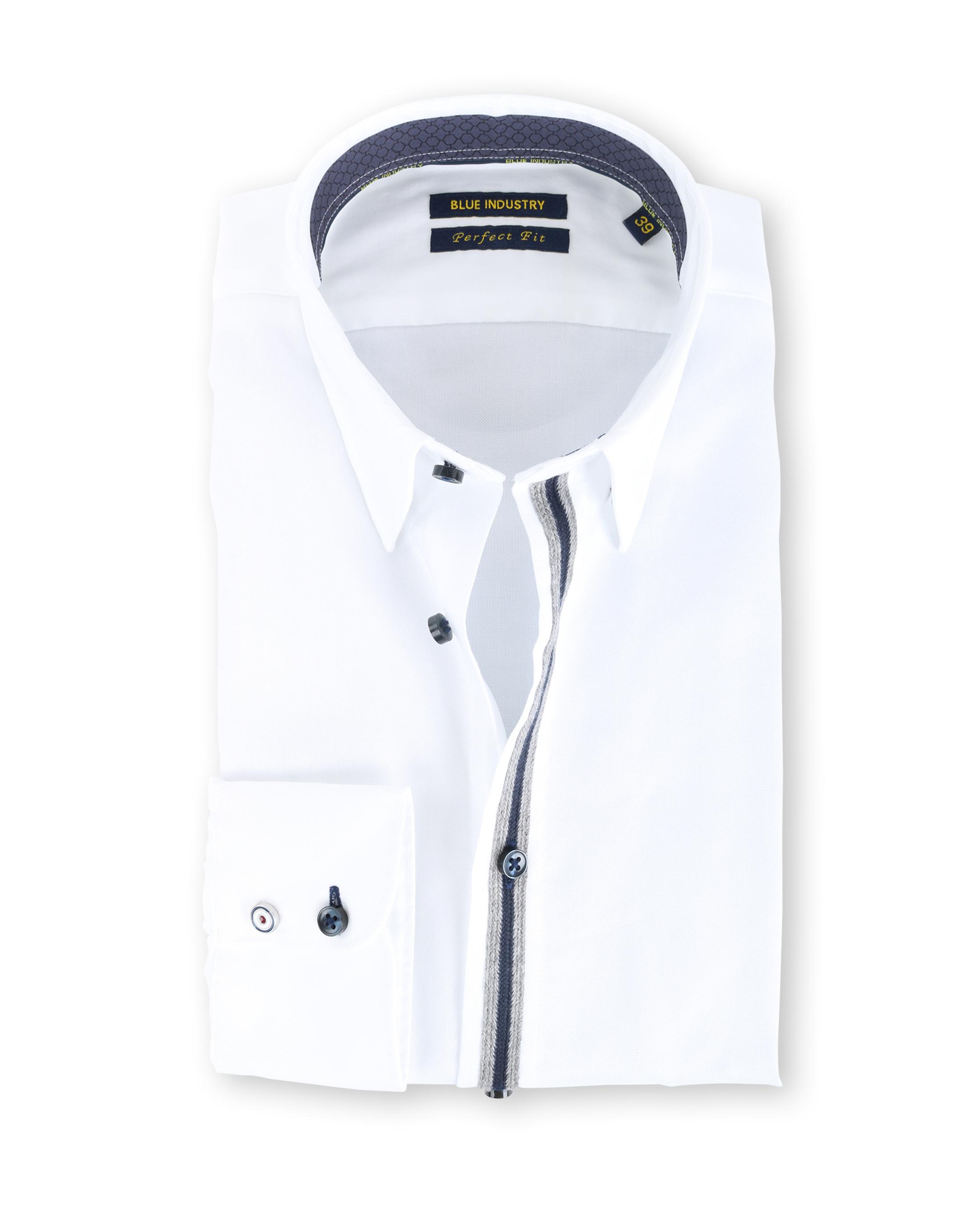 Blue Industry Shirt Button Under Wit foto 0
