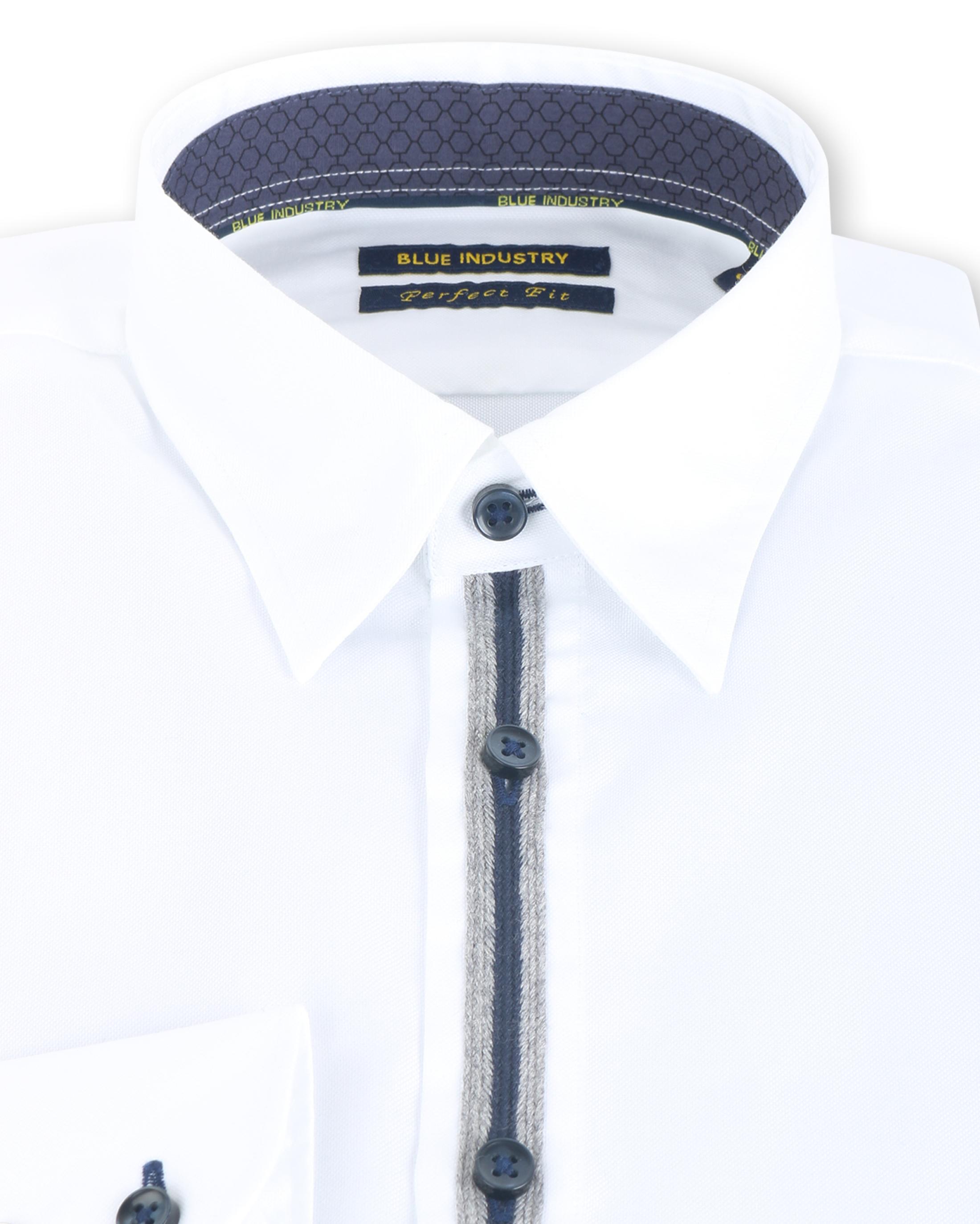 Blue Industry Shirt Button Under Wit foto 1