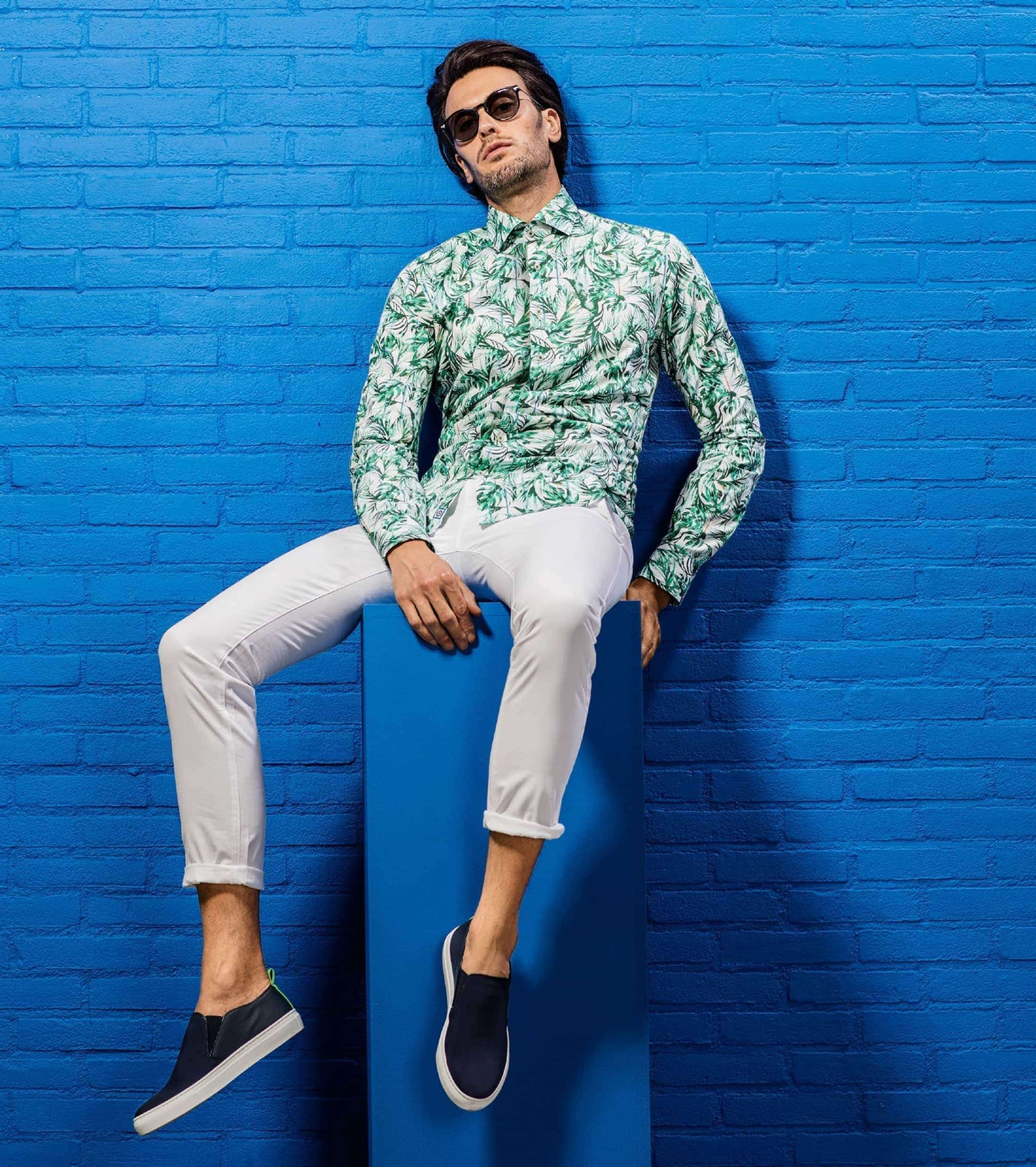 Blue Industry Shirt Floral Green foto 5