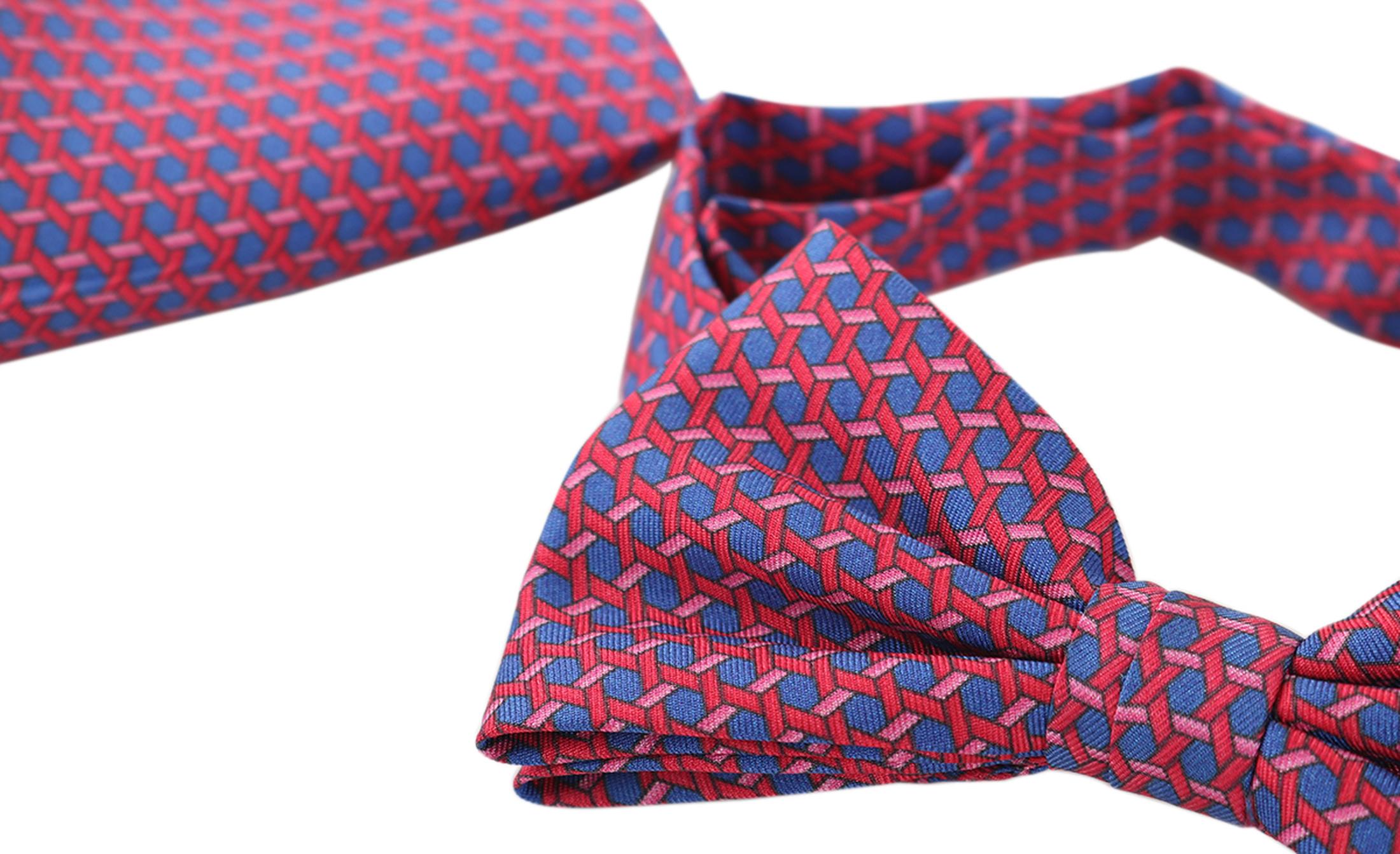 Bow Tie Silk + Pocket Sqaure Blue Pink foto 0