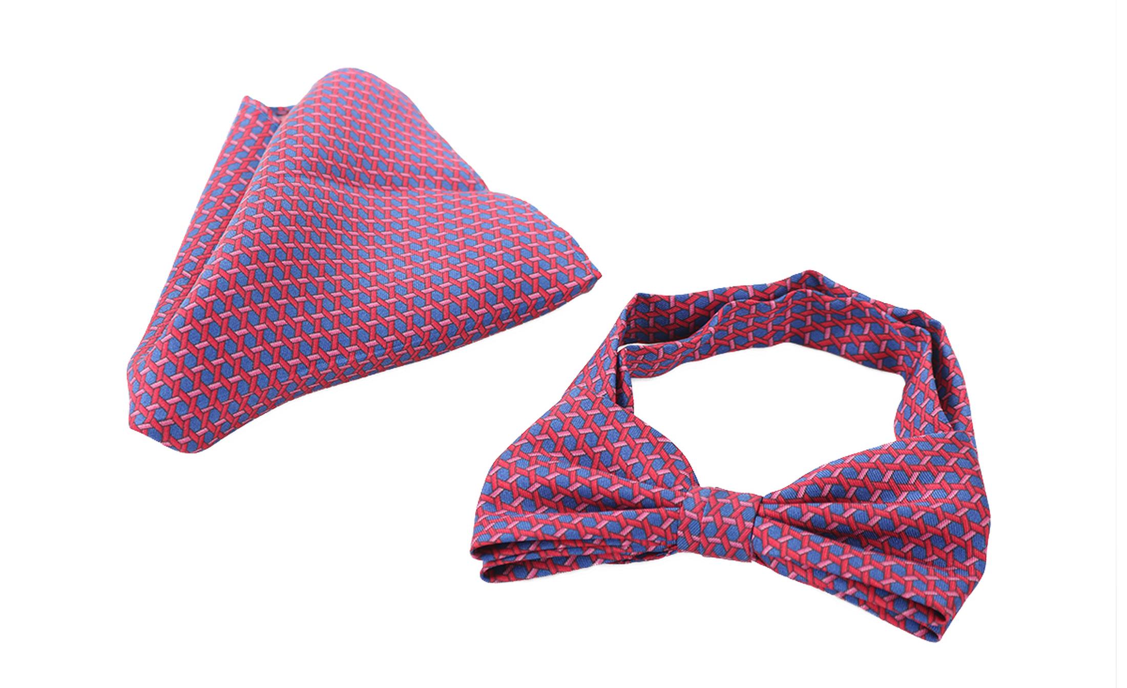 Bow Tie Silk + Pocket Sqaure Blue Pink foto 1