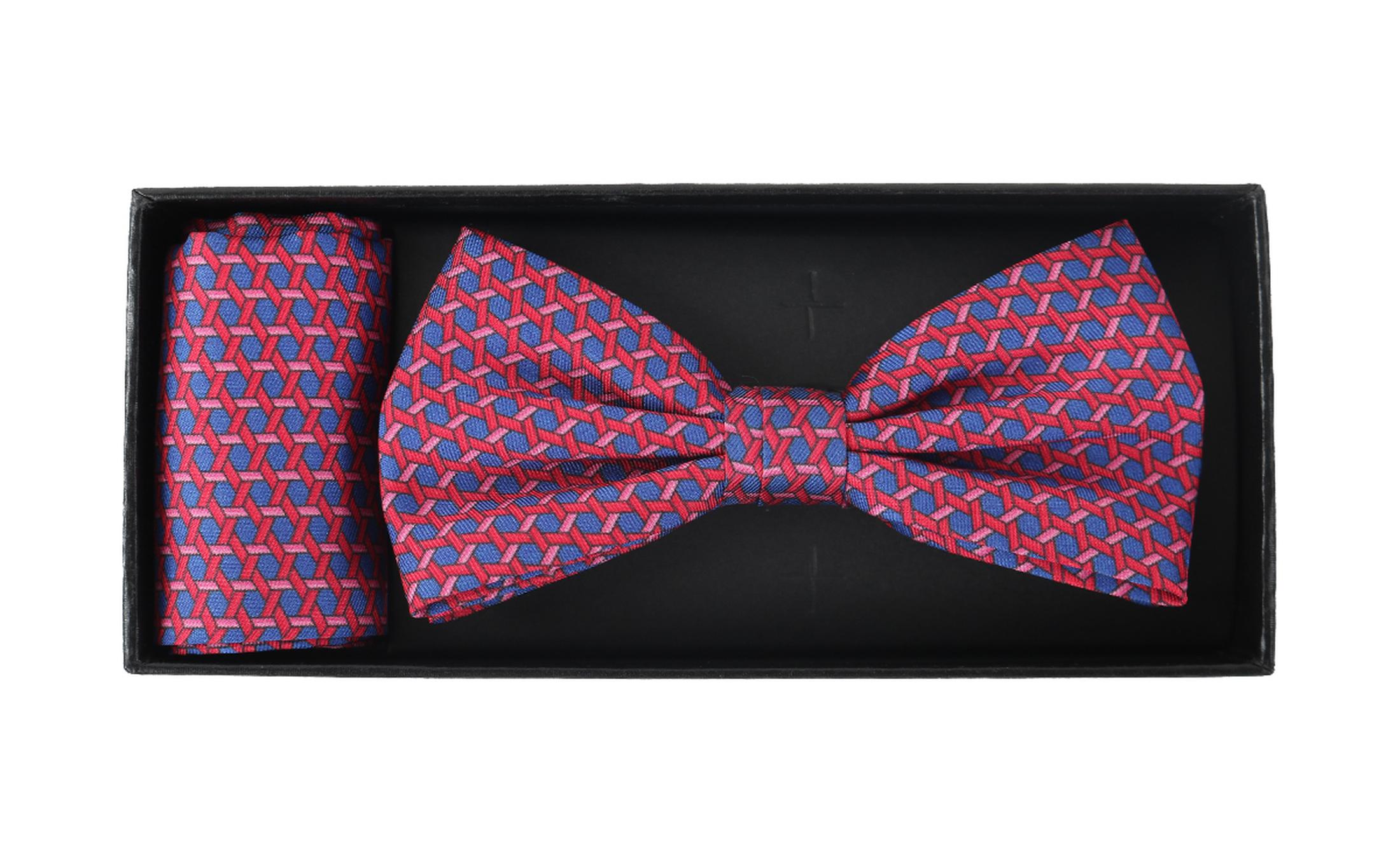 Bow Tie Silk + Pocket Sqaure Blue Pink foto 2