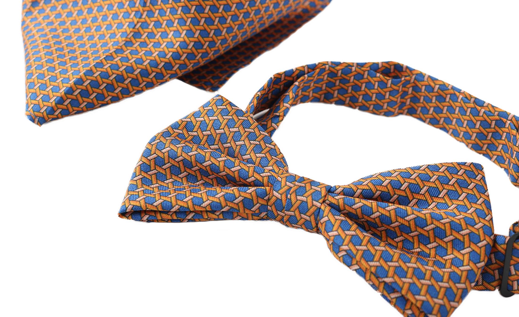 Bow Tie Silk + Pocket Sqaure Orange Blue foto 0