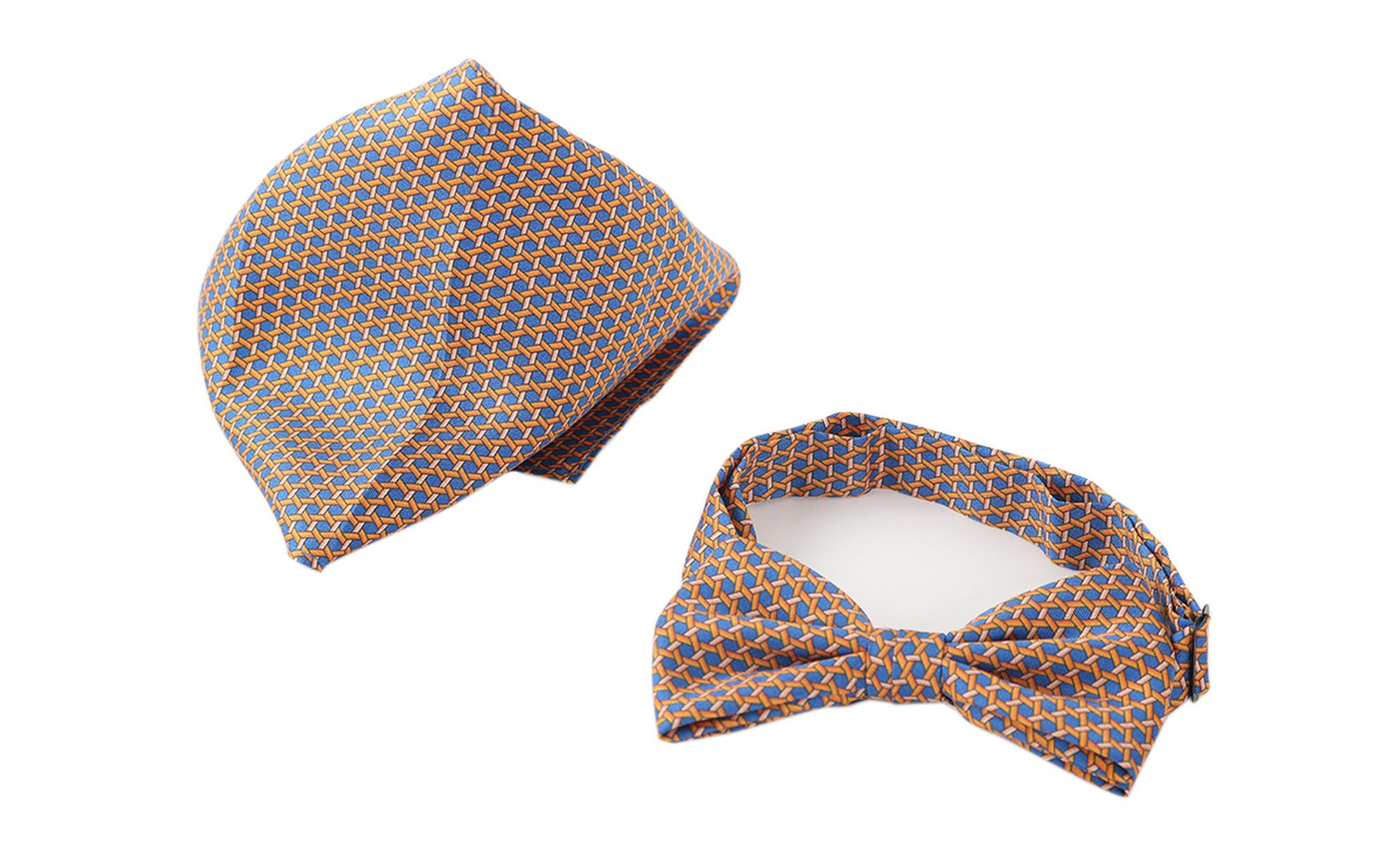 Bow Tie Silk + Pocket Sqaure Orange Blue foto 1