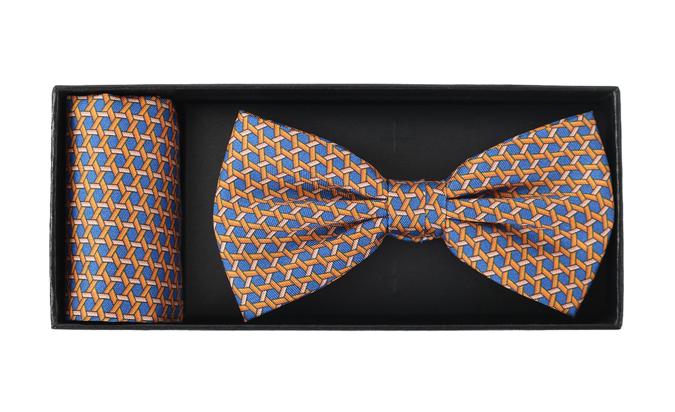 Bow Tie Silk + Pocket Sqaure Orange Blue foto 2
