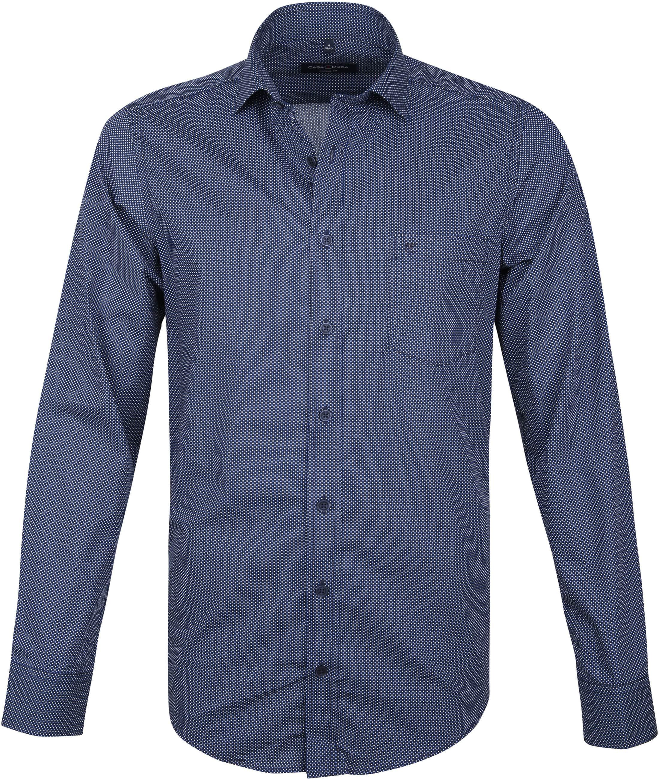 Casa Moda Overhemd Navy Vierkanten foto 0