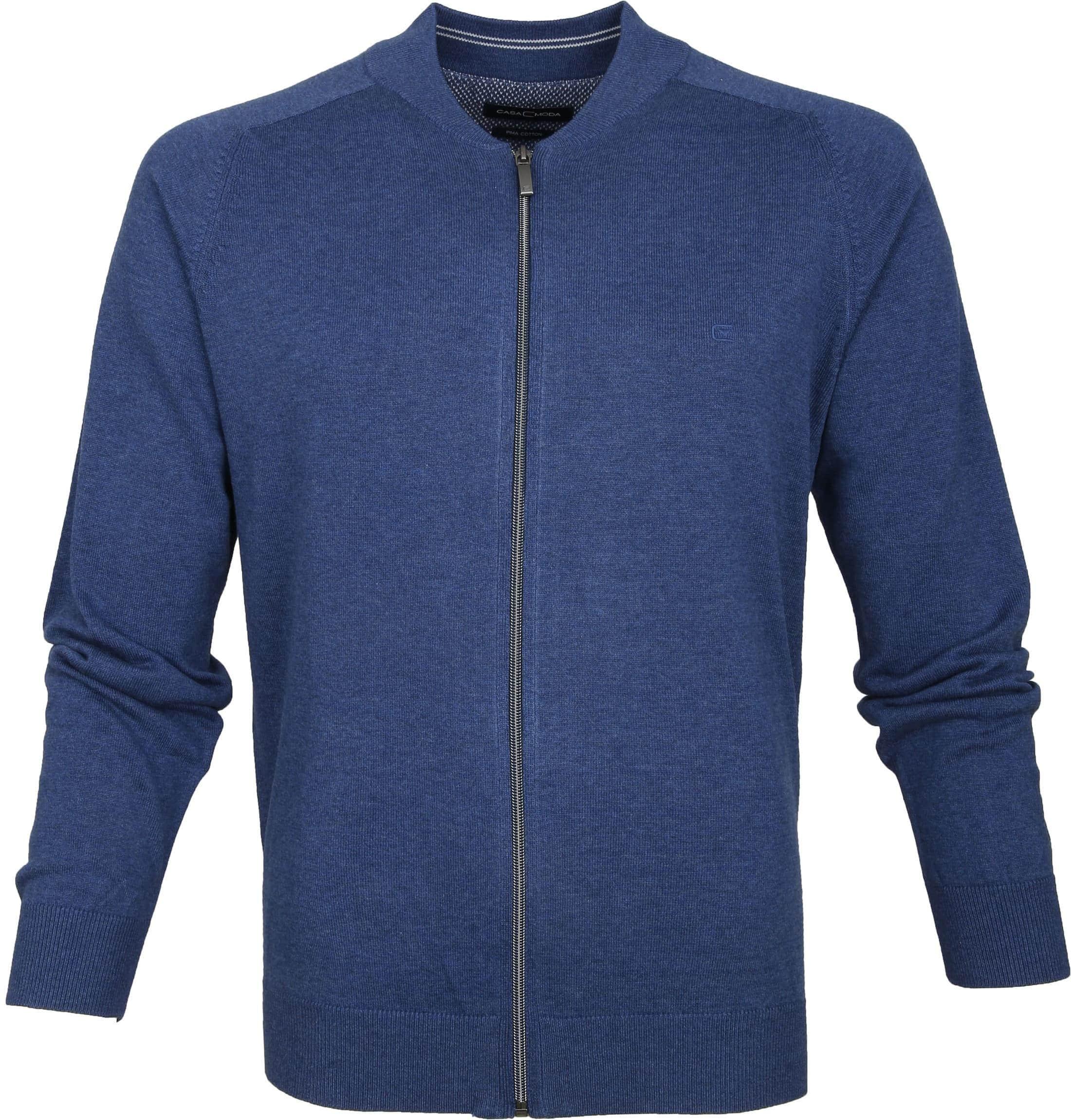 Casa Moda Strickjacke Zip Blau