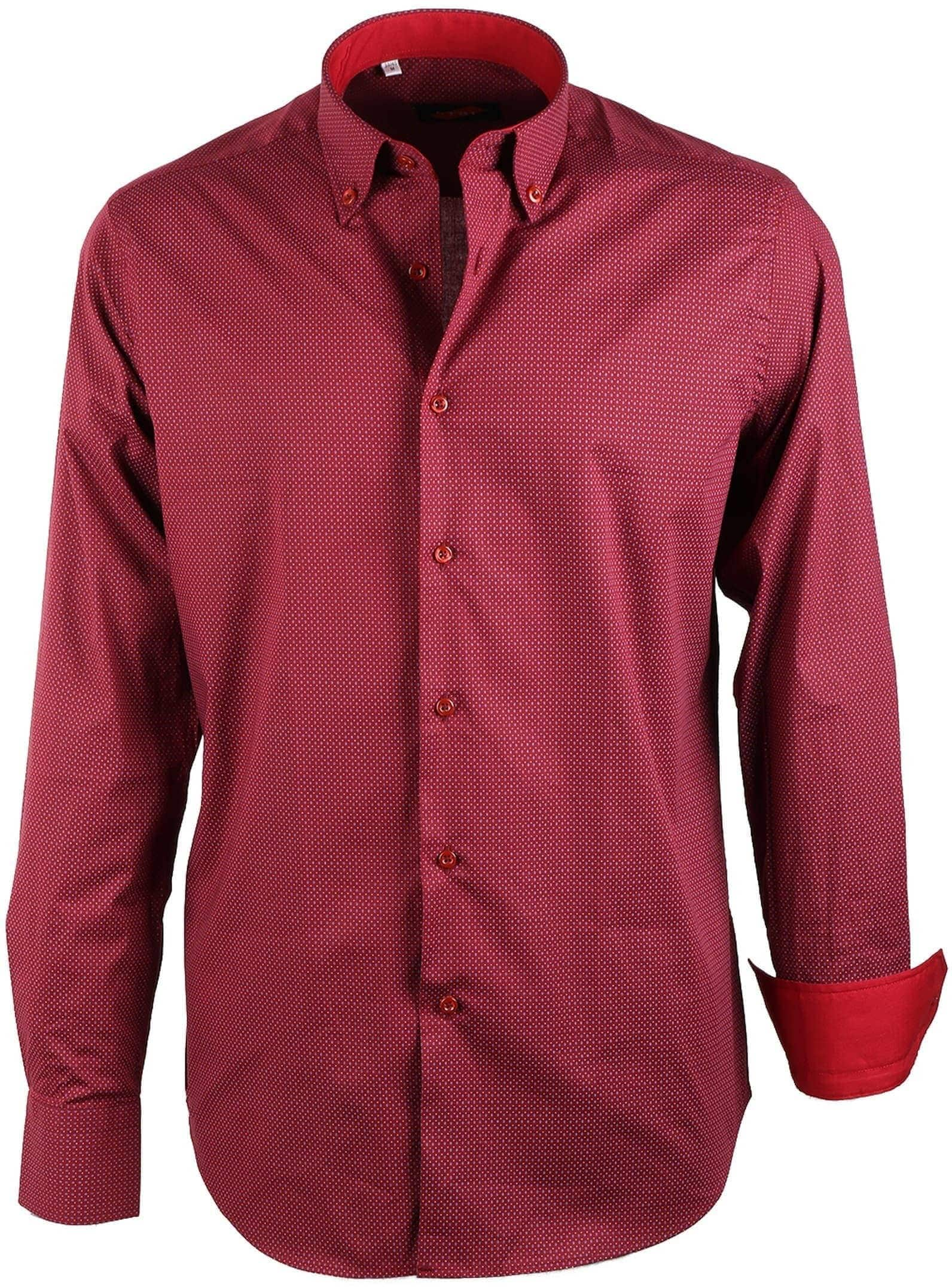 Bordeaux Overhemd.Casual Overhemd Bordeaux Print 2016 9001 5 Bordo Satin Print