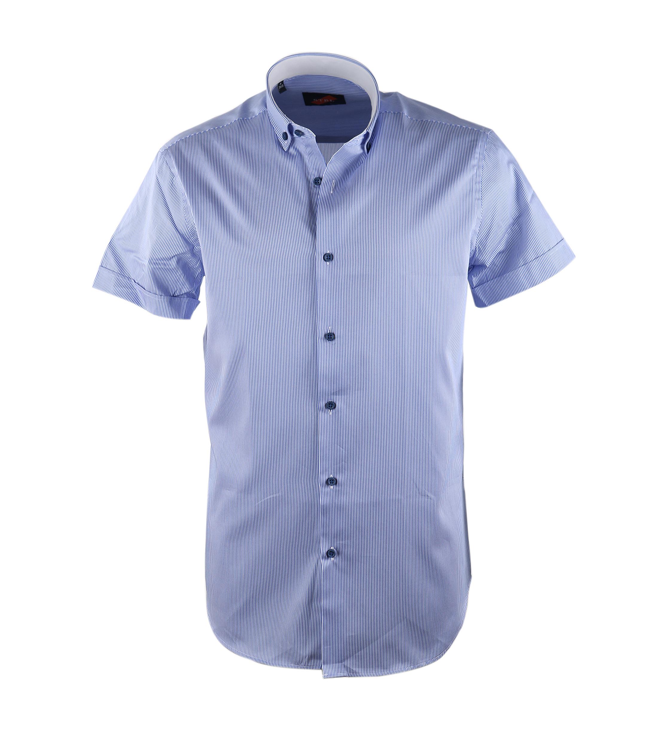 Casual Overhemd S3-6 Blauw Wit foto 0