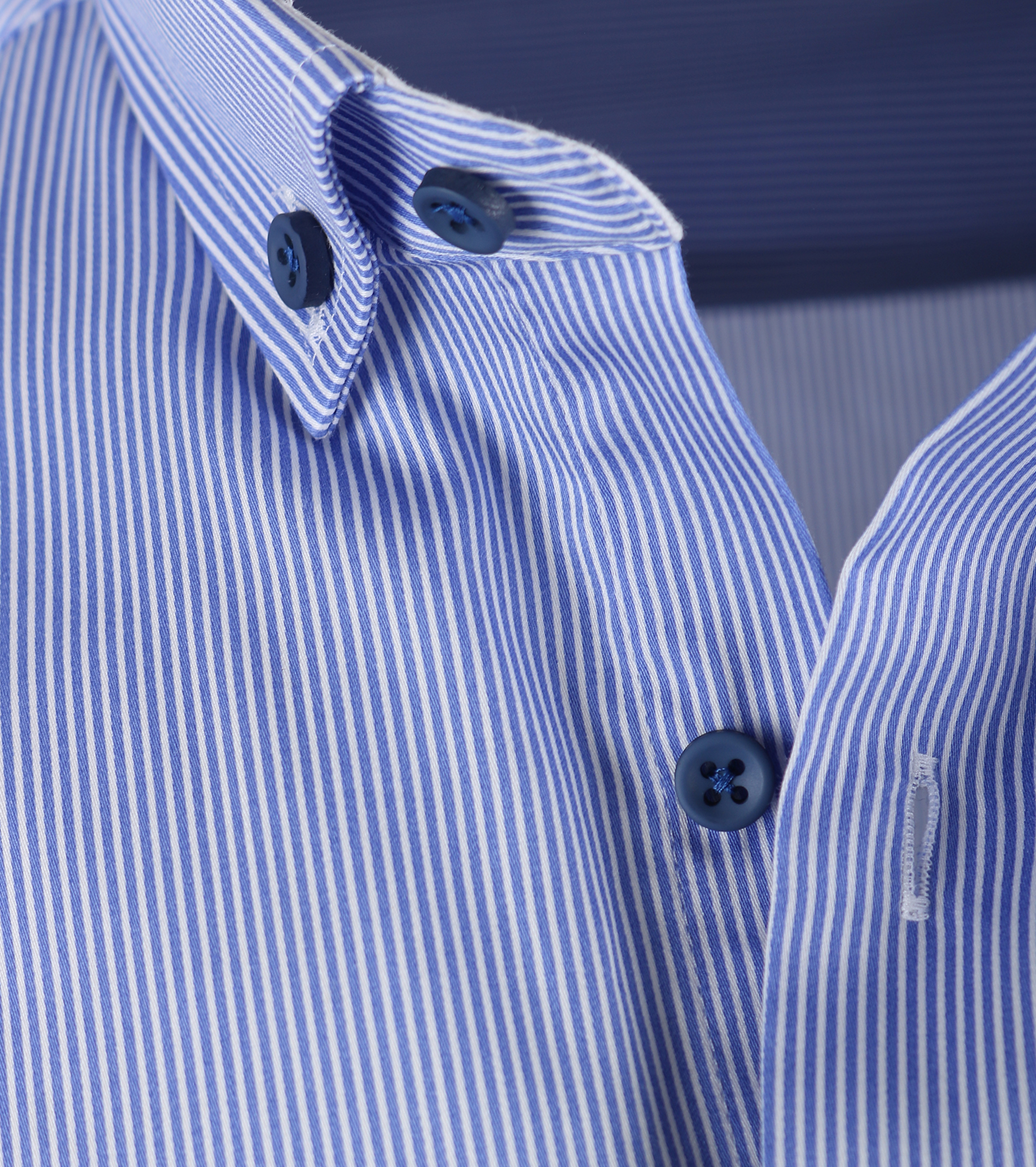 Casual Overhemd S3-6 Blauw Wit foto 1